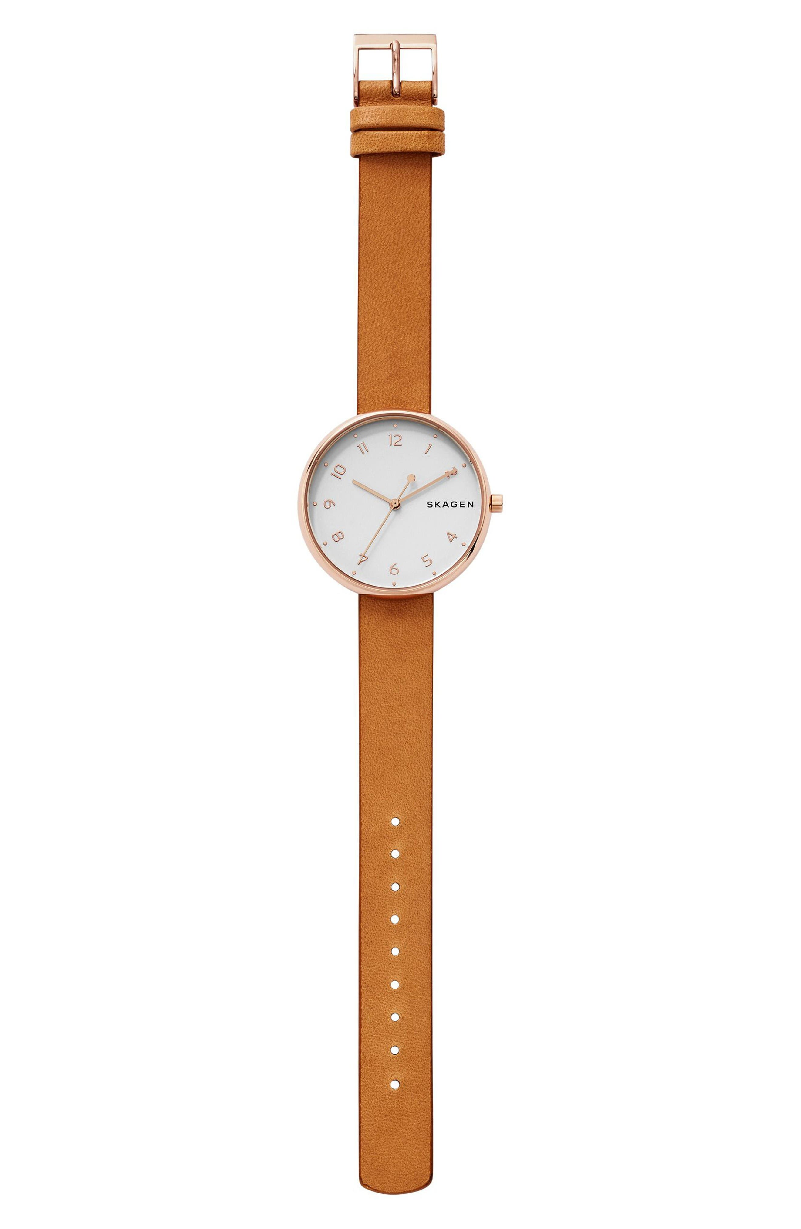 Signatur Leather Strap Watch, 36mm,                             Alternate thumbnail 2, color,                             Brown/ White/ Rose Gold