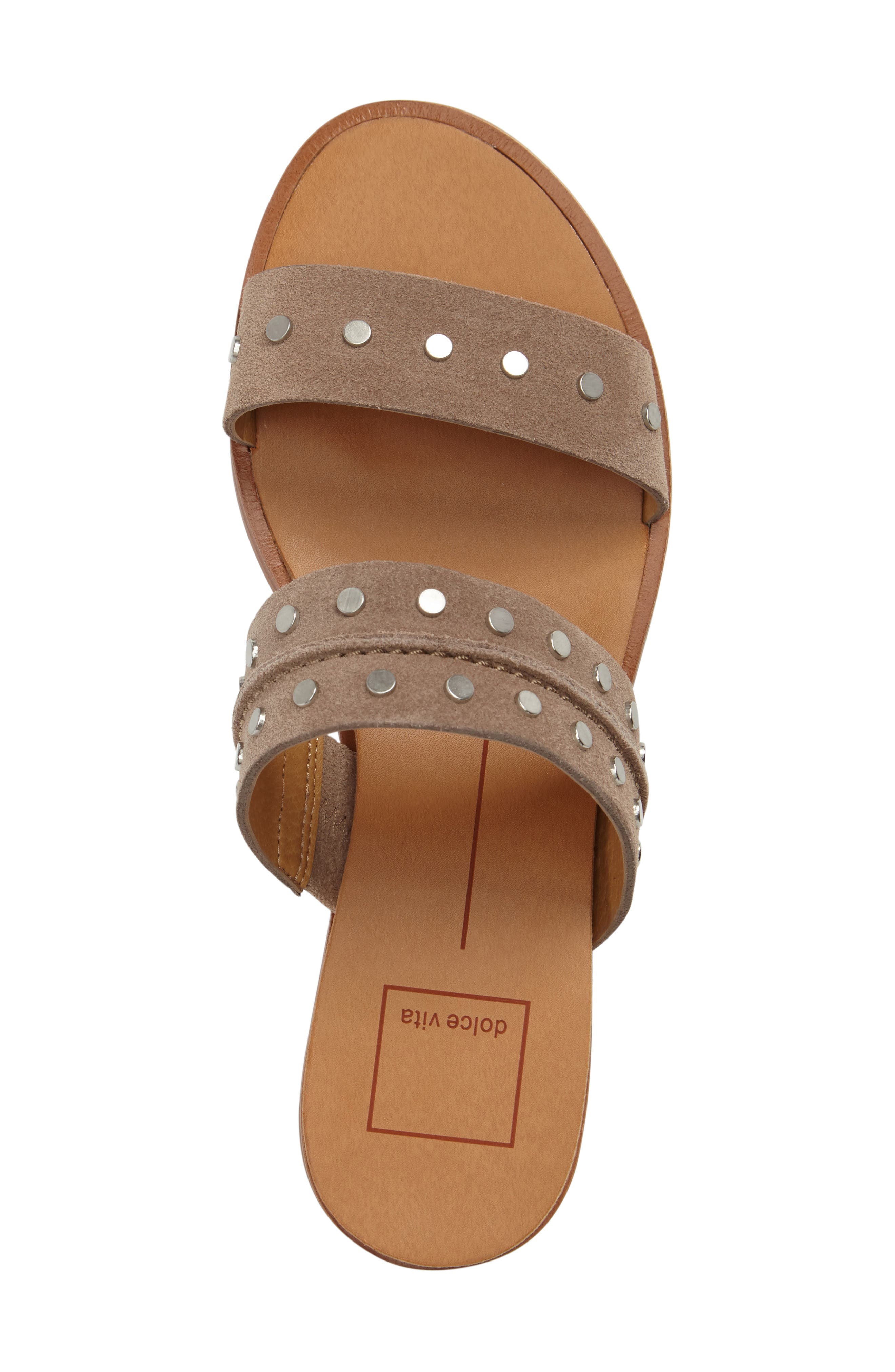 Pacey Studded Wedge Sandal,                             Alternate thumbnail 5, color,                             Taupe Suede