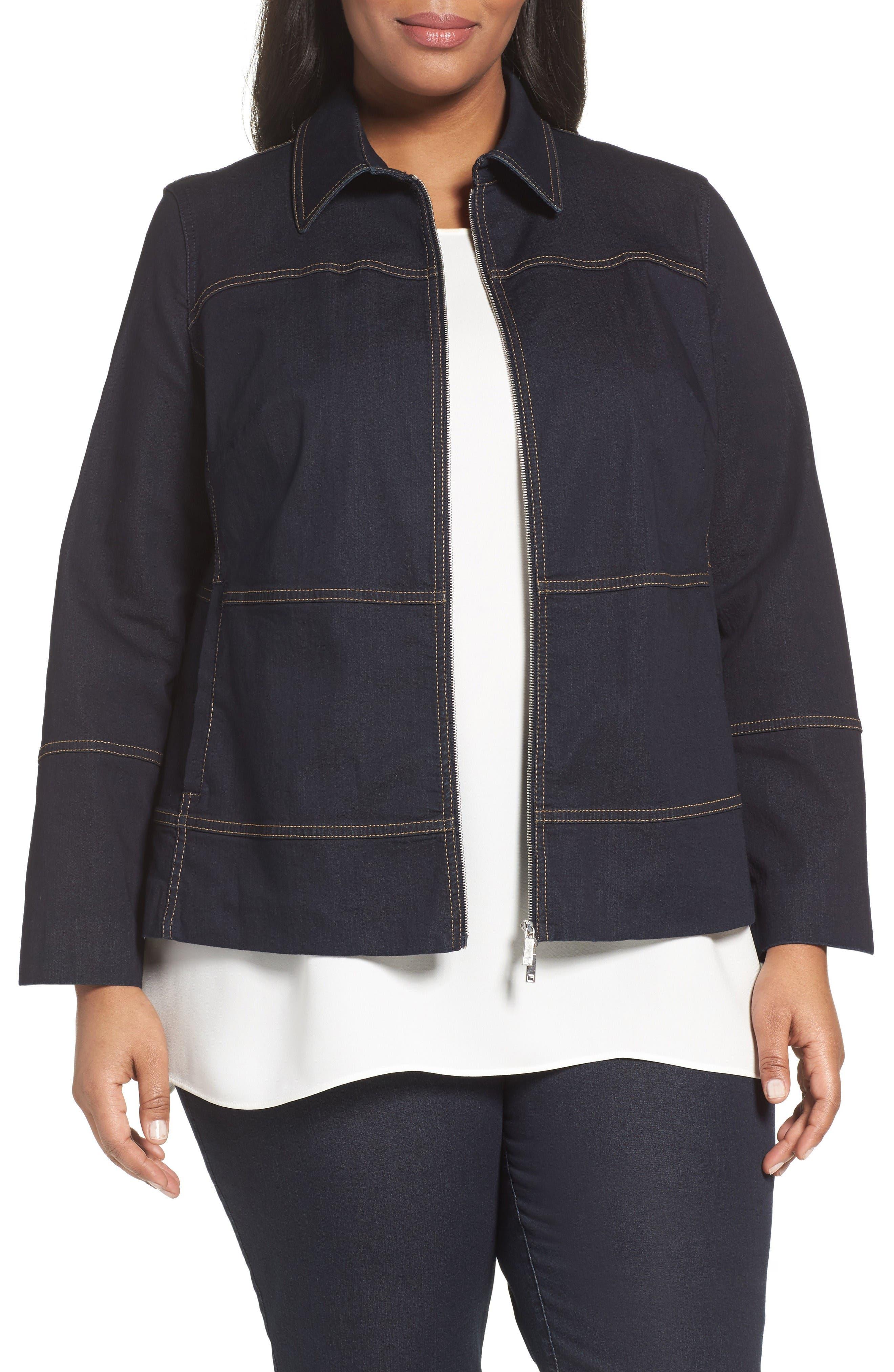 Adaya Collared Denim Jacket, Plus Size Lafayette 148 New York