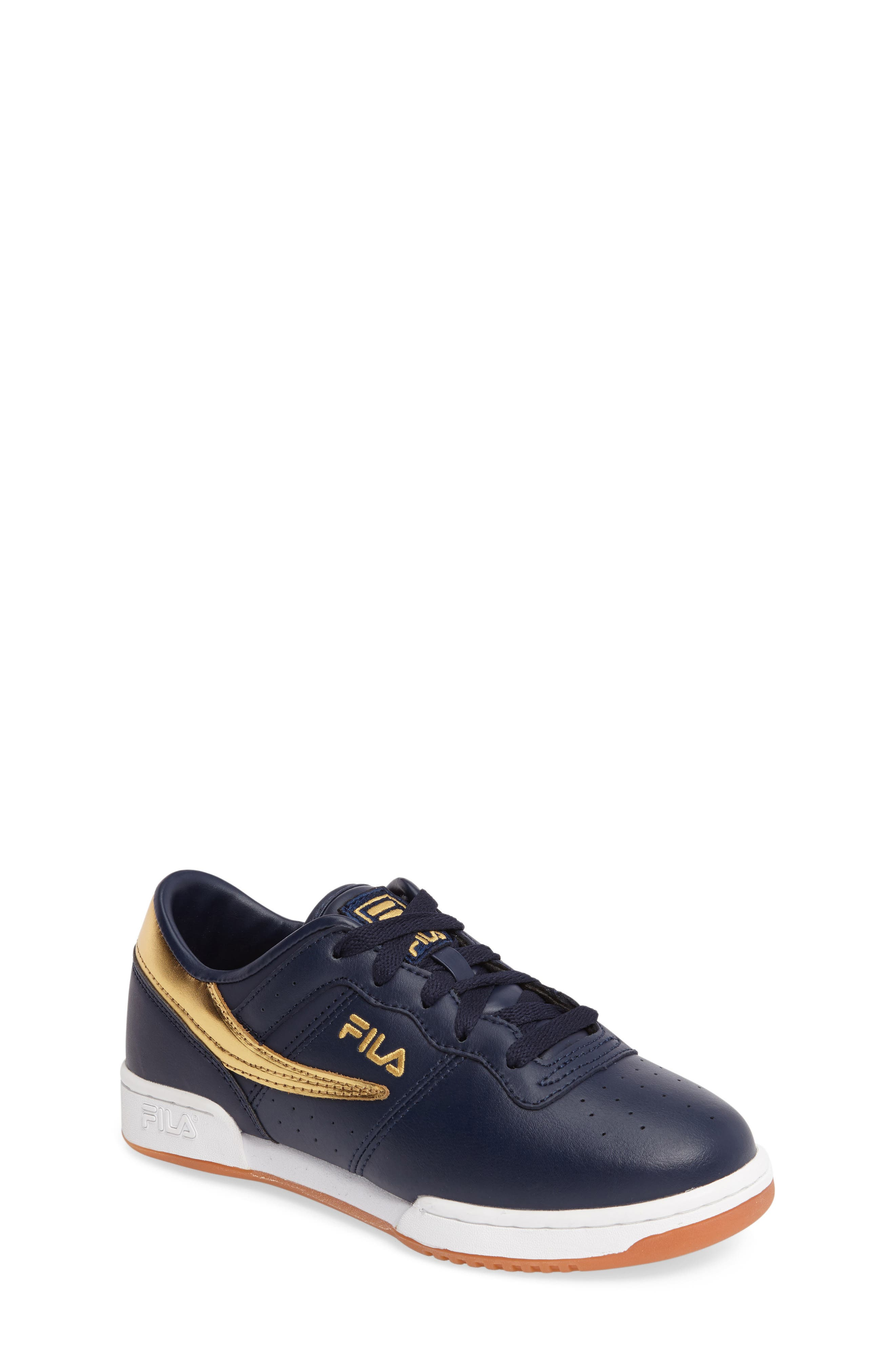 Heritage Sneaker,                             Main thumbnail 1, color,                             Navy/ Gold Faux Leather