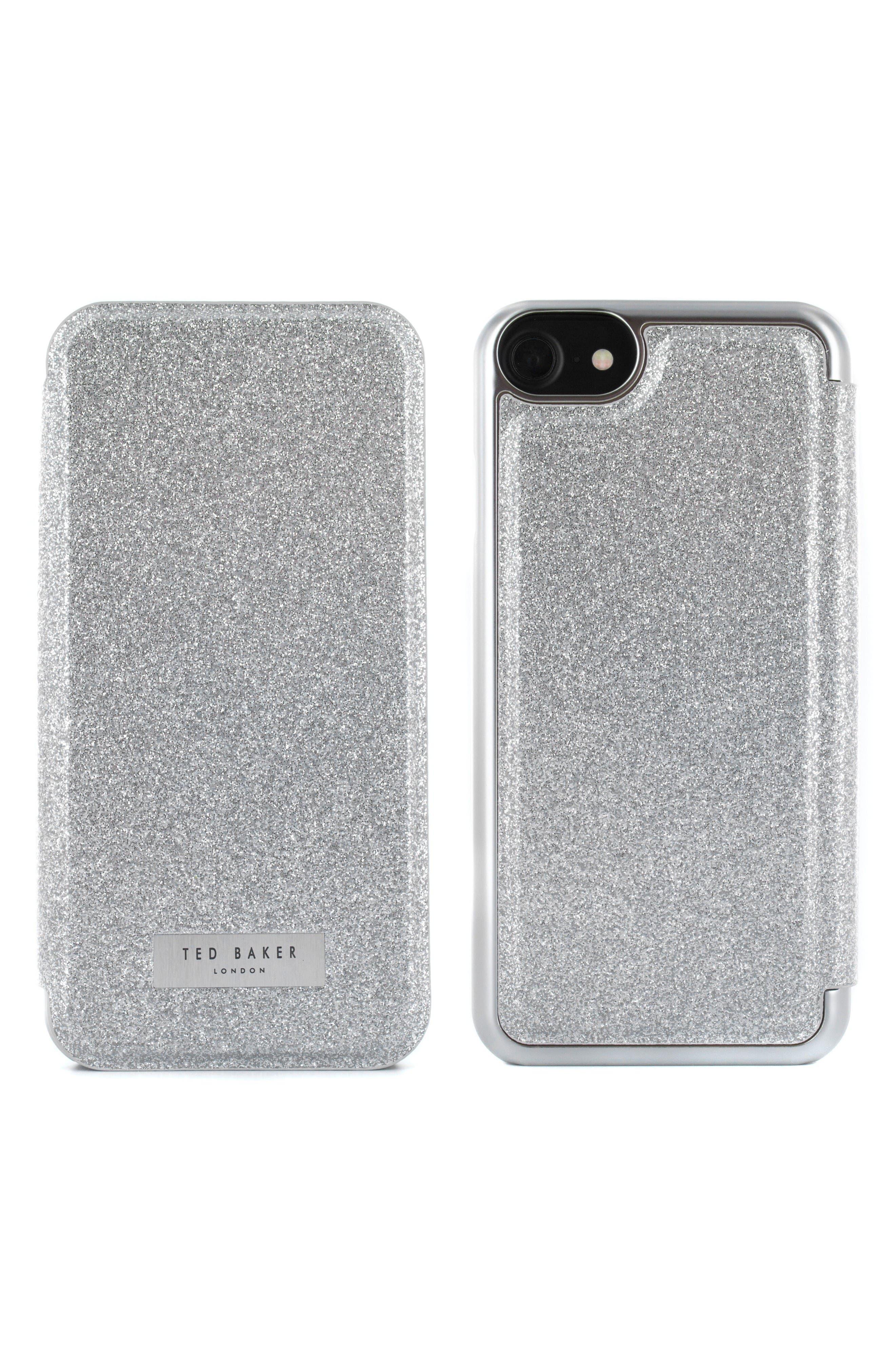 Glitsie iPhone 6/6s/7/8 Mirror Folio Case,                             Alternate thumbnail 2, color,                             Silver