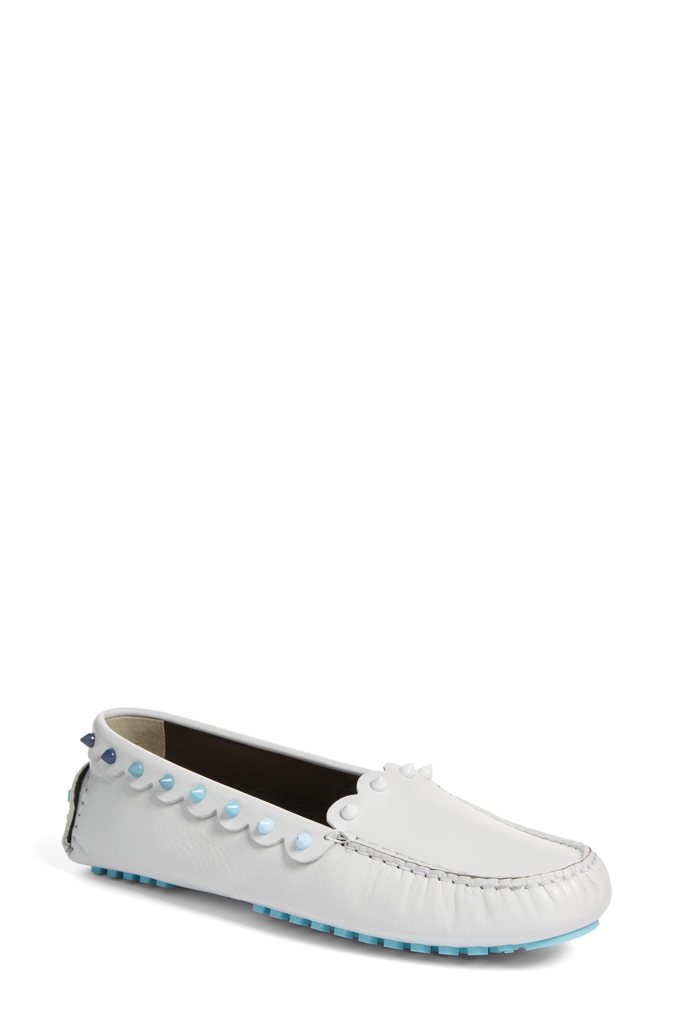 Alternate Image 1 Selected - Fendi Scallop Stud Driving Moccasin (Women)