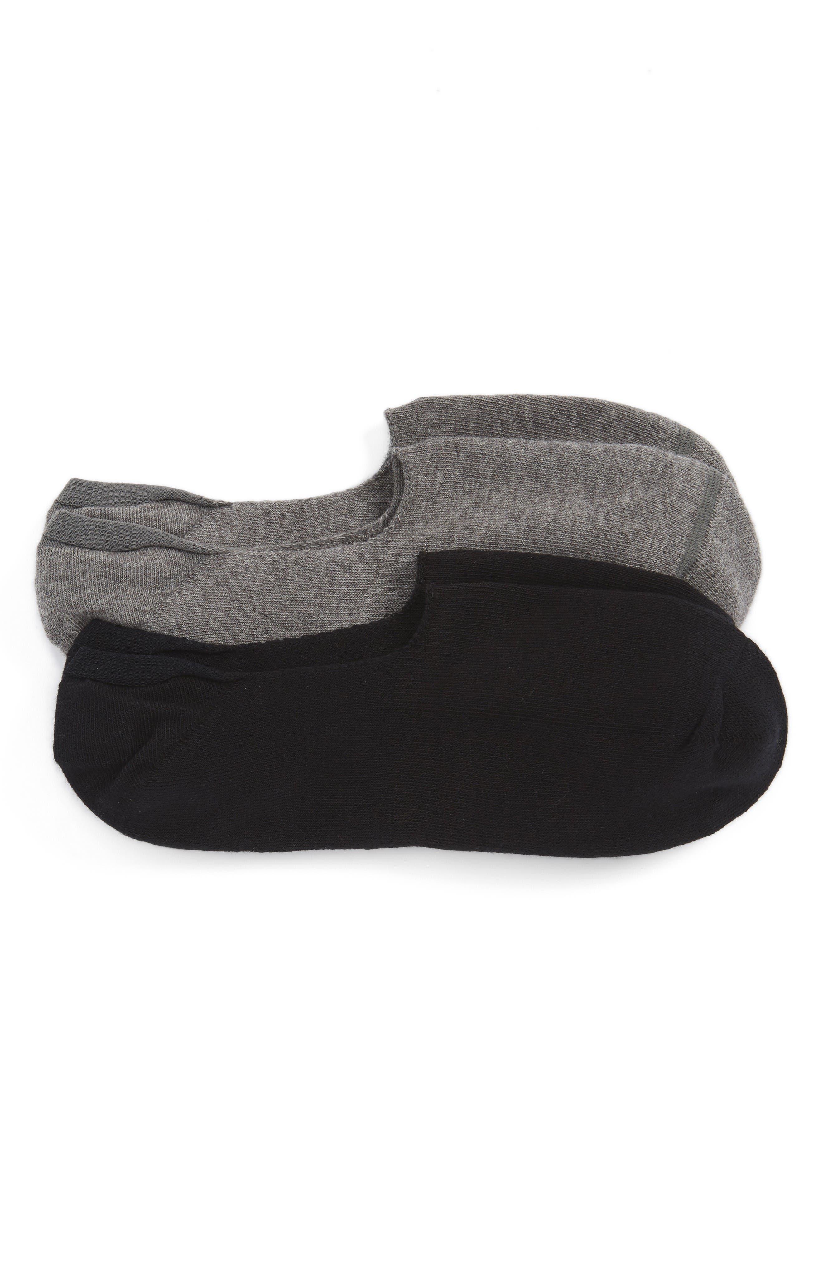 2-Pack Everyday Liner Socks,                             Main thumbnail 1, color,                             Black/ Grey