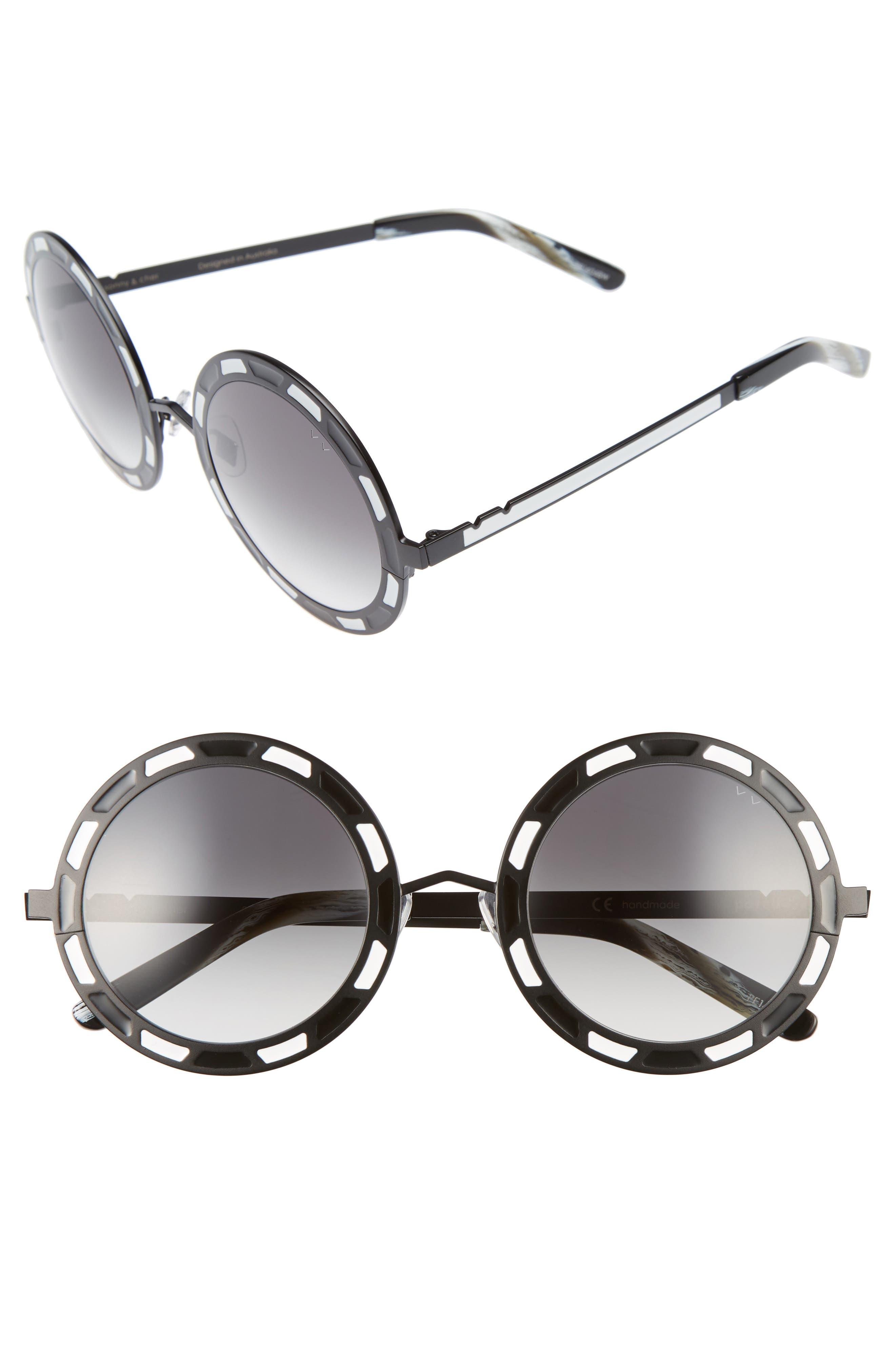 Sonny & Cher 50mm Round Sunglasses,                         Main,                         color, Black Titanium/ White Grey