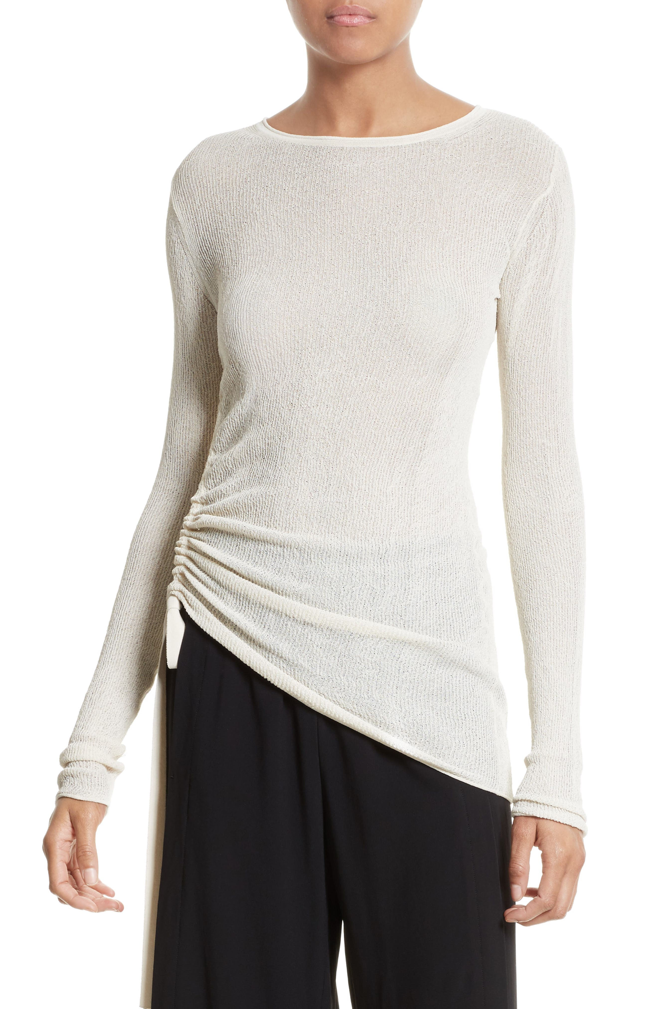Drawstring Crepe Pullover,                         Main,                         color, Ivory