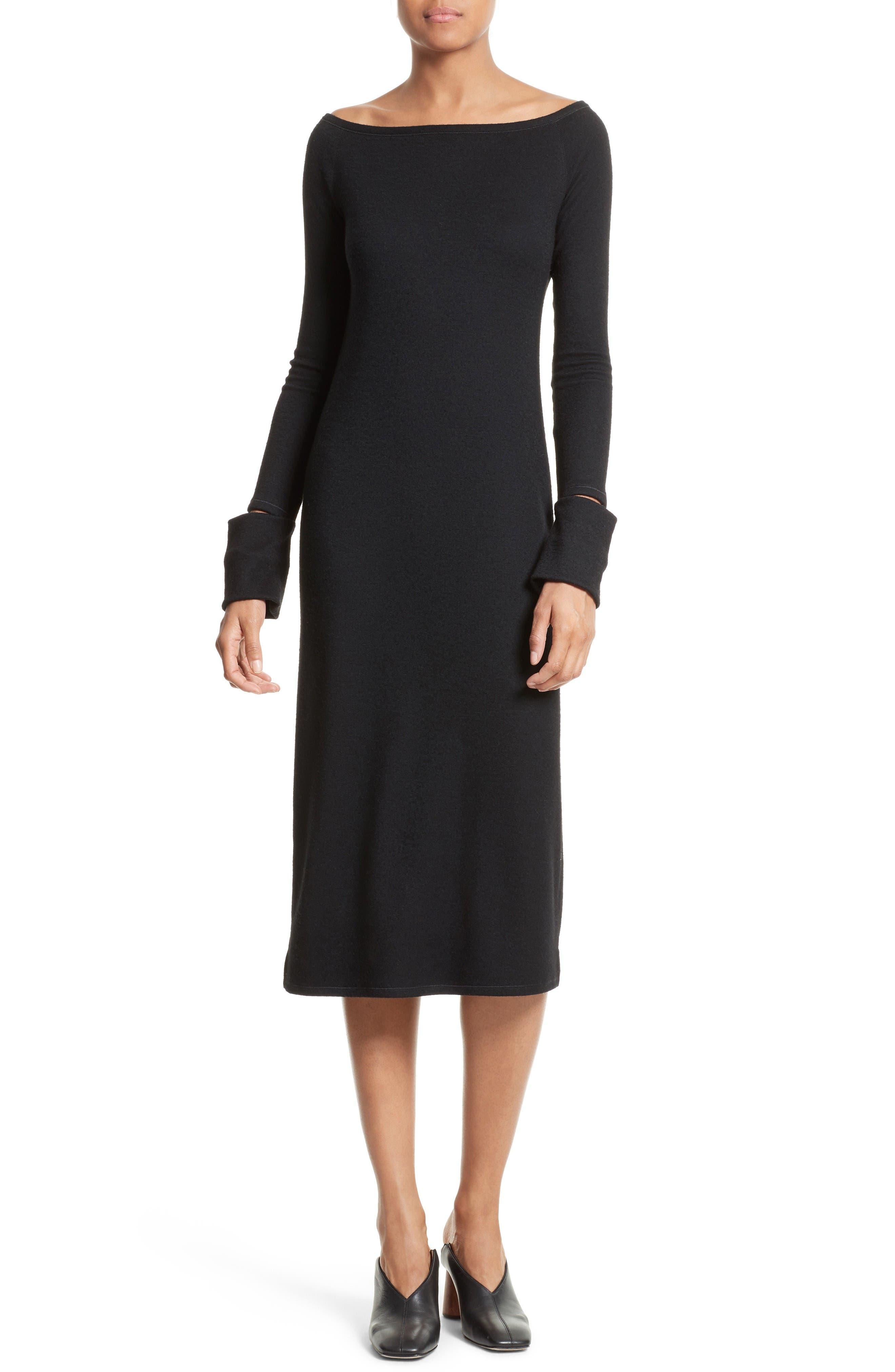 Slash Cuff Wool Blend Dress,                             Main thumbnail 1, color,                             Black