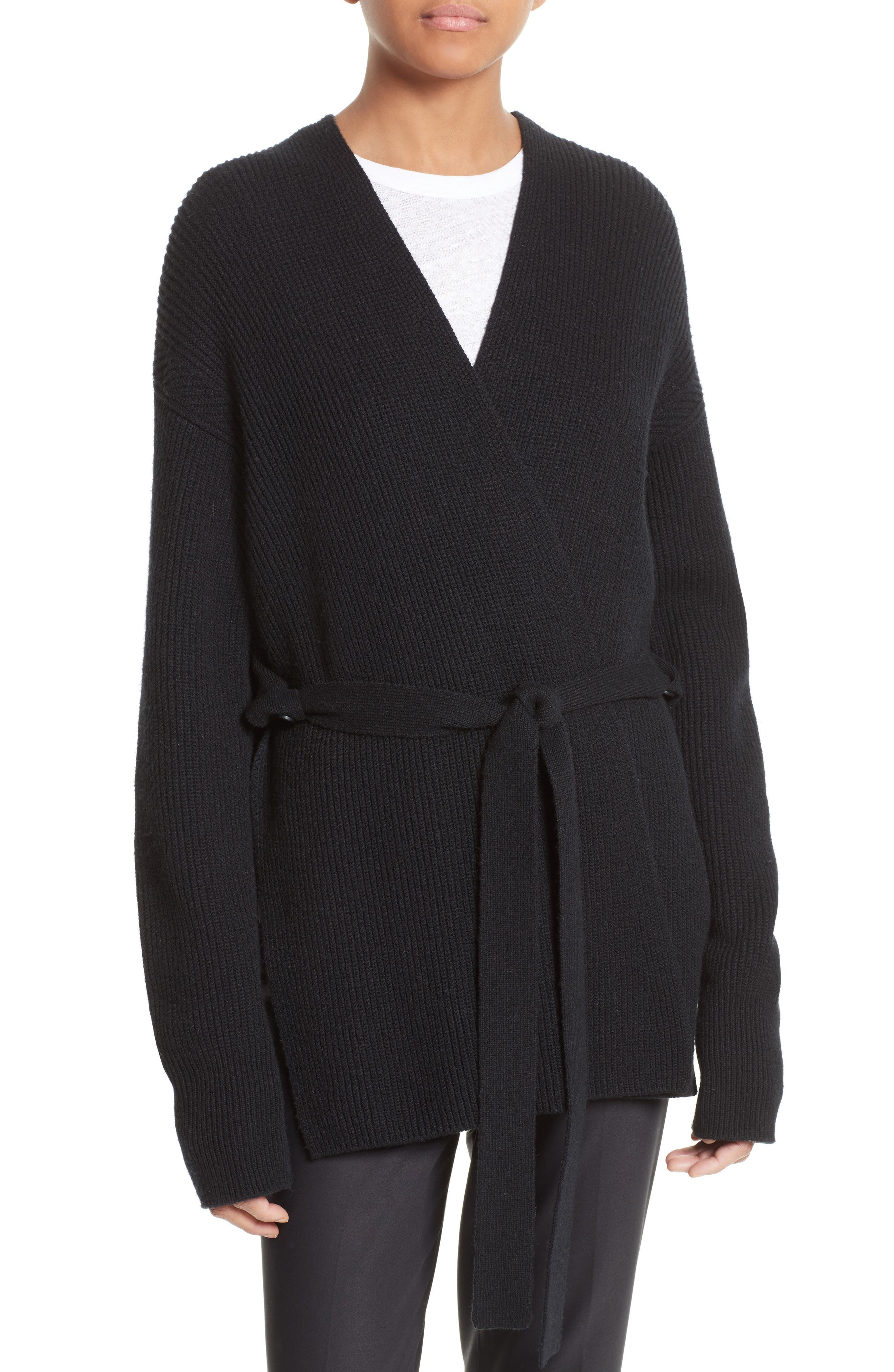 Helmut Lang Wool & Cashmere Belted Wrap Cardigan
