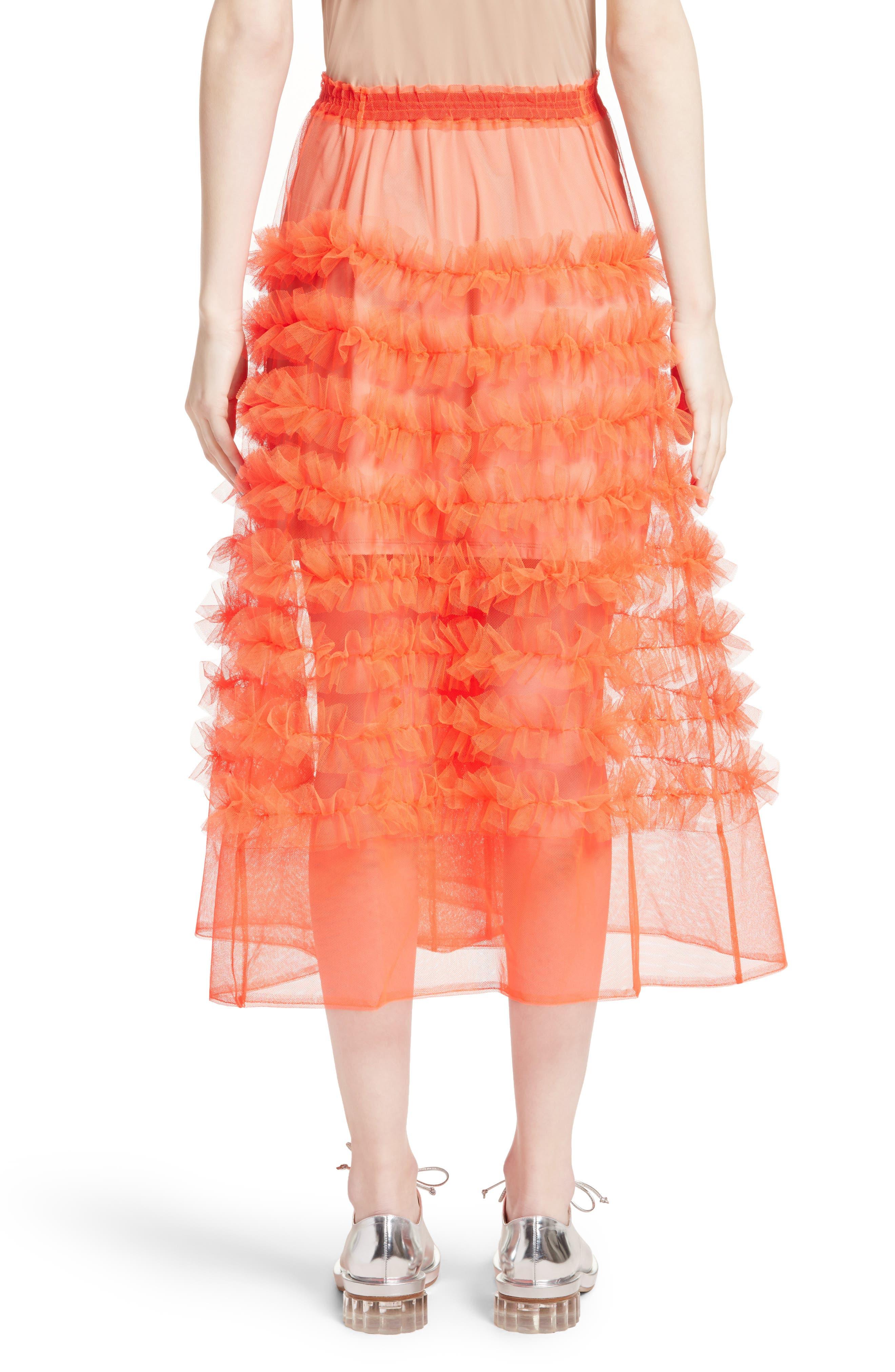 Melanie Tulle Skirt,                             Alternate thumbnail 2, color,                             Neon Tangerine