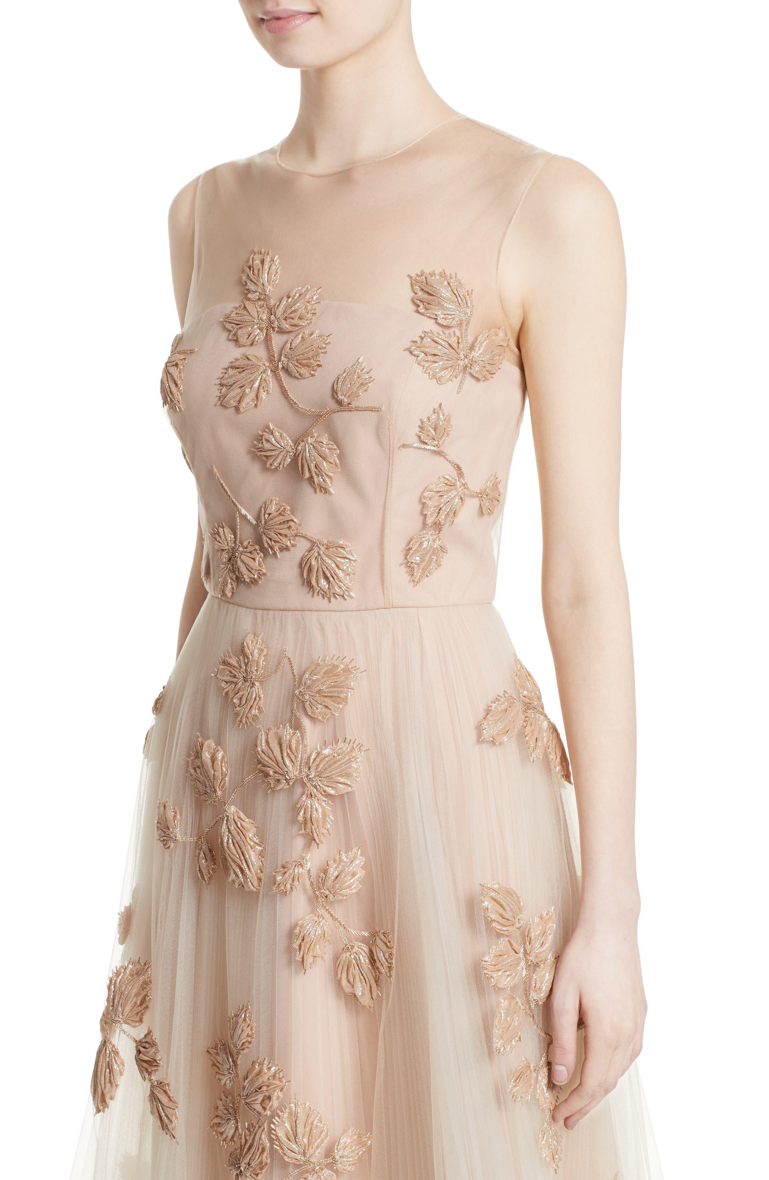 Sequin Leaf Tulle Midi Dress,                             Alternate thumbnail 4, color,                             Blush