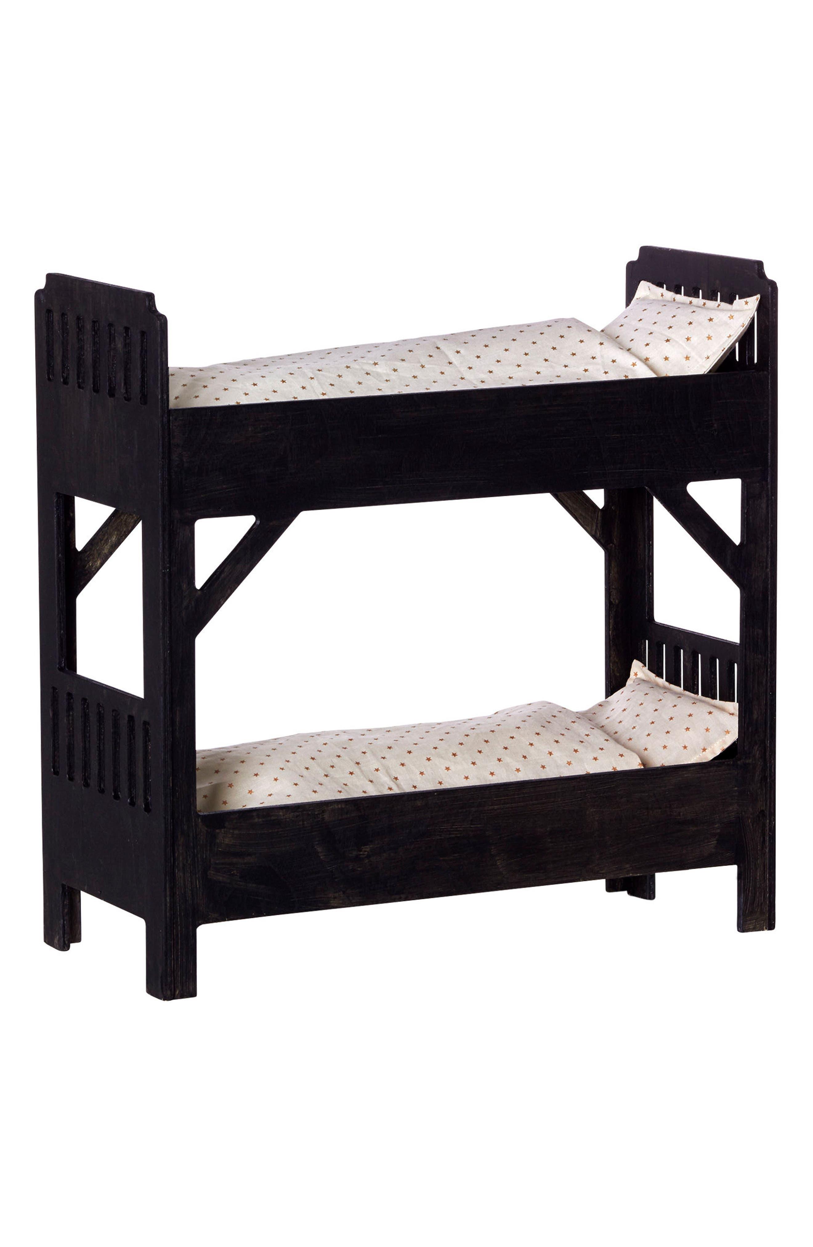 Large Wooden Doll Bunk Bed,                         Main,                         color, Black