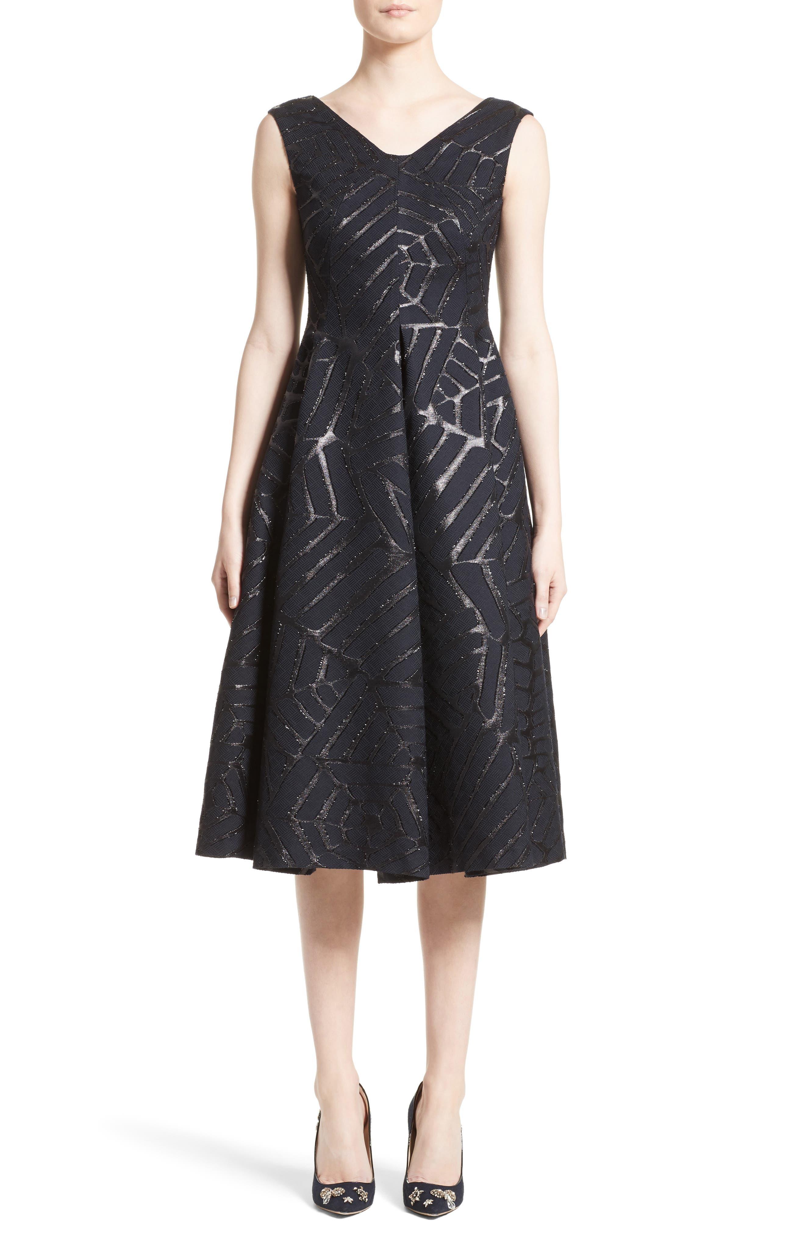 Talbot Runhof Shimmer Fil Coupé Cocktail Dress
