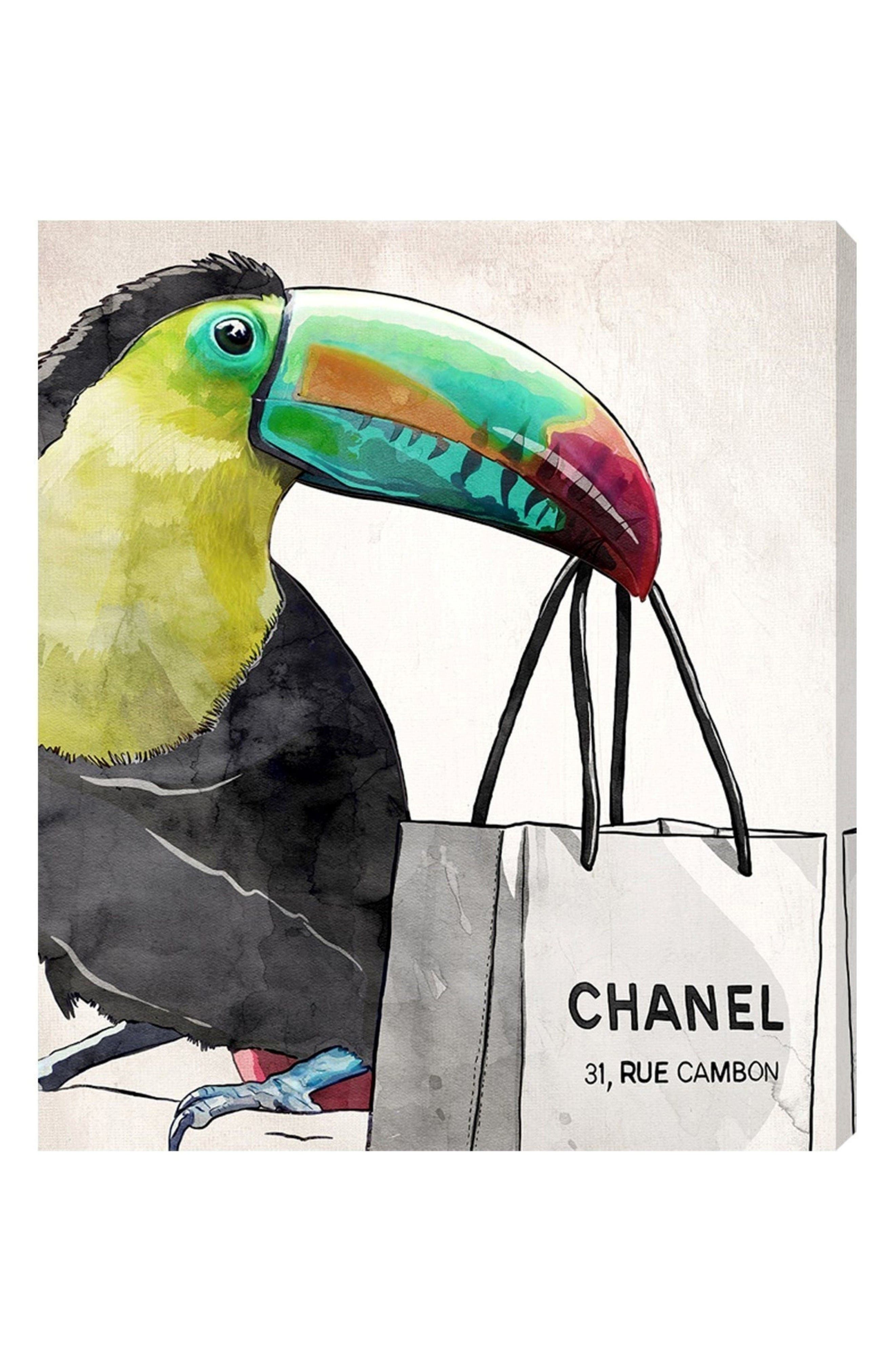 French Toucan Canvas Wall Art,                         Main,                         color, White