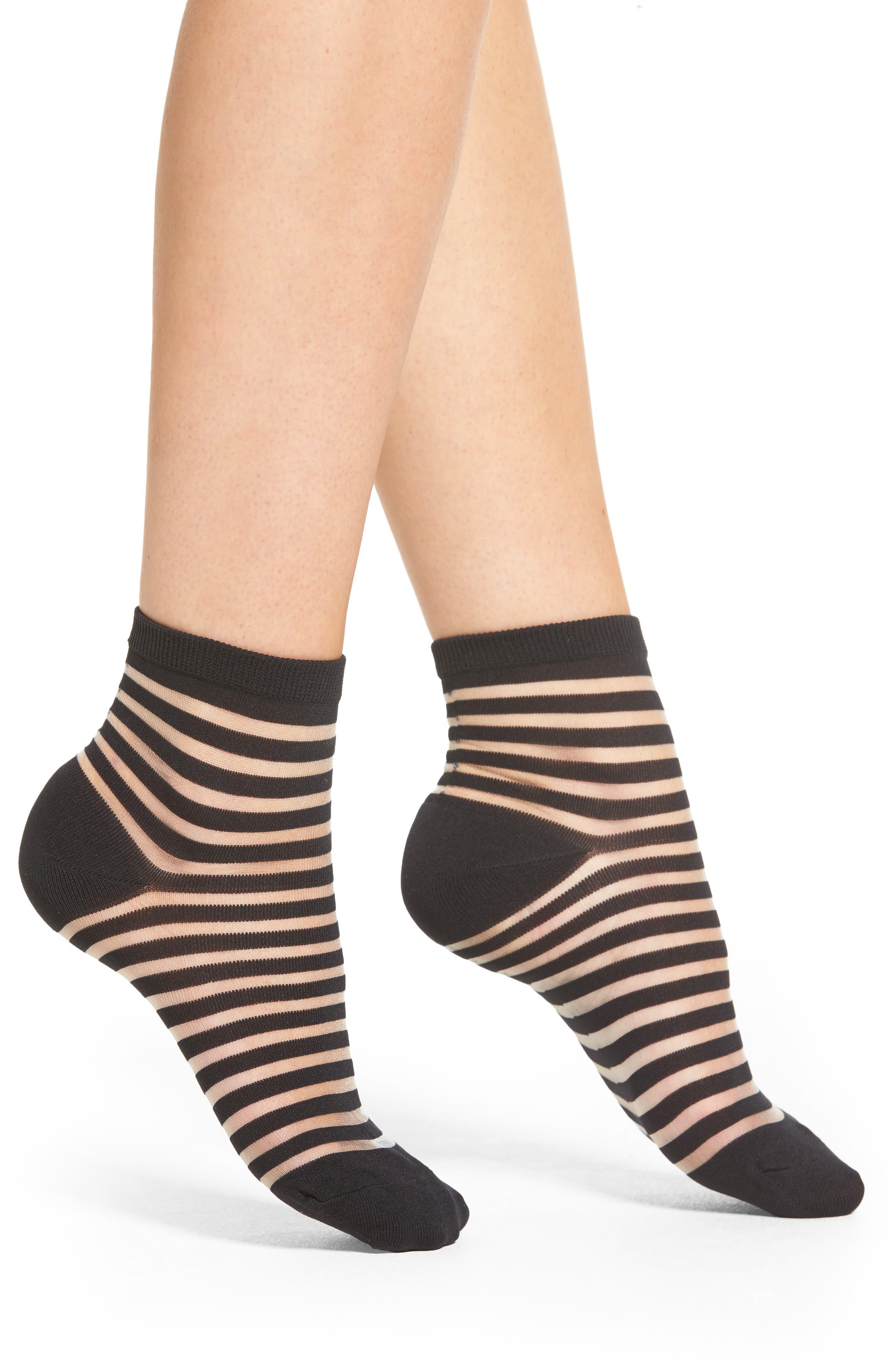 sheer stripe ankle socks,                         Main,                         color, Black