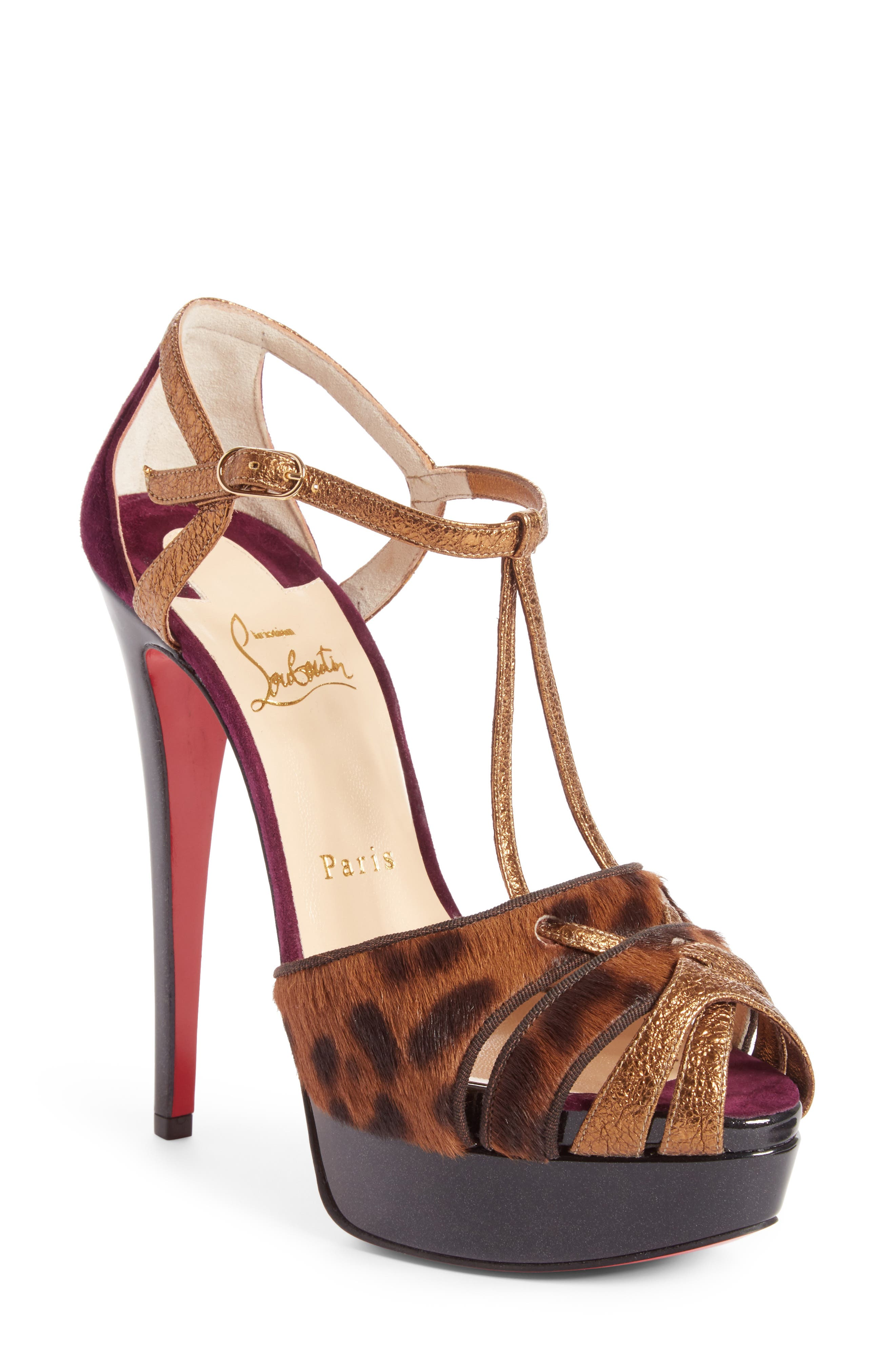 CHRISTIAN LOUBOUTIN Glennalta Genuine Calf Hair Platform Sandal