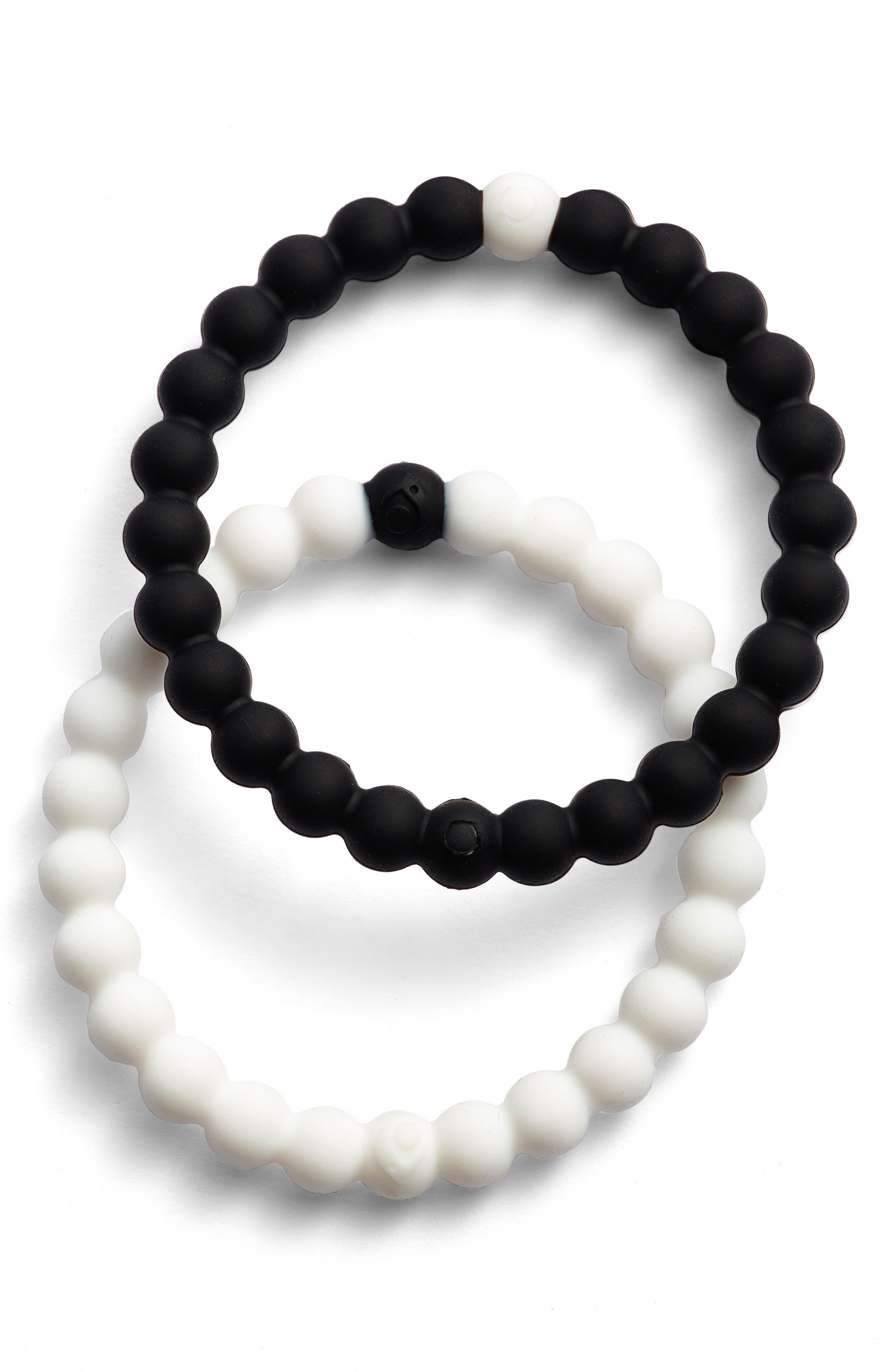 Choose Your Cause Set of 2 Black & White Bracelets,                         Main,                         color, Black Multi