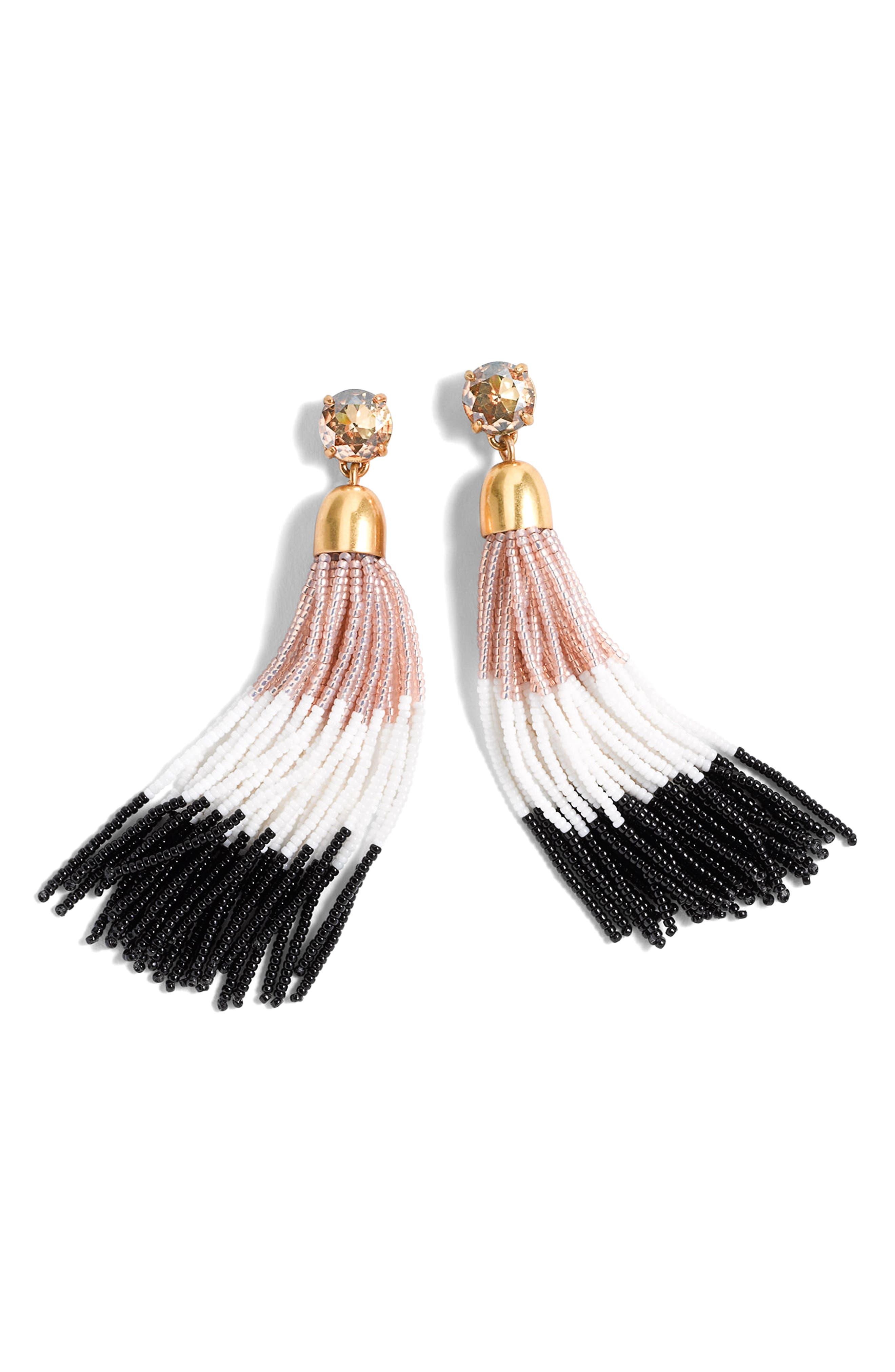 Colorblock Bead Tassel Earrings,                             Main thumbnail 1, color,                             Sweet Jasmine