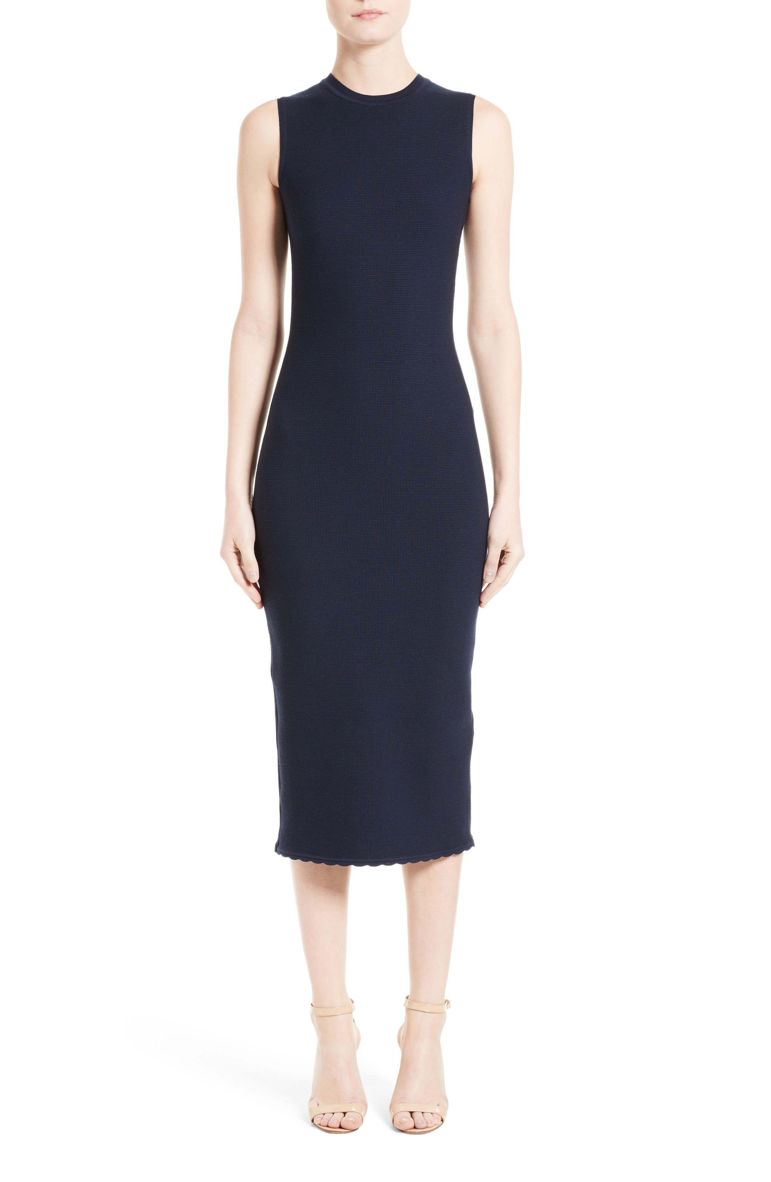 Wool Blend Knit Scallop Dress,                         Main,                         color, Navy
