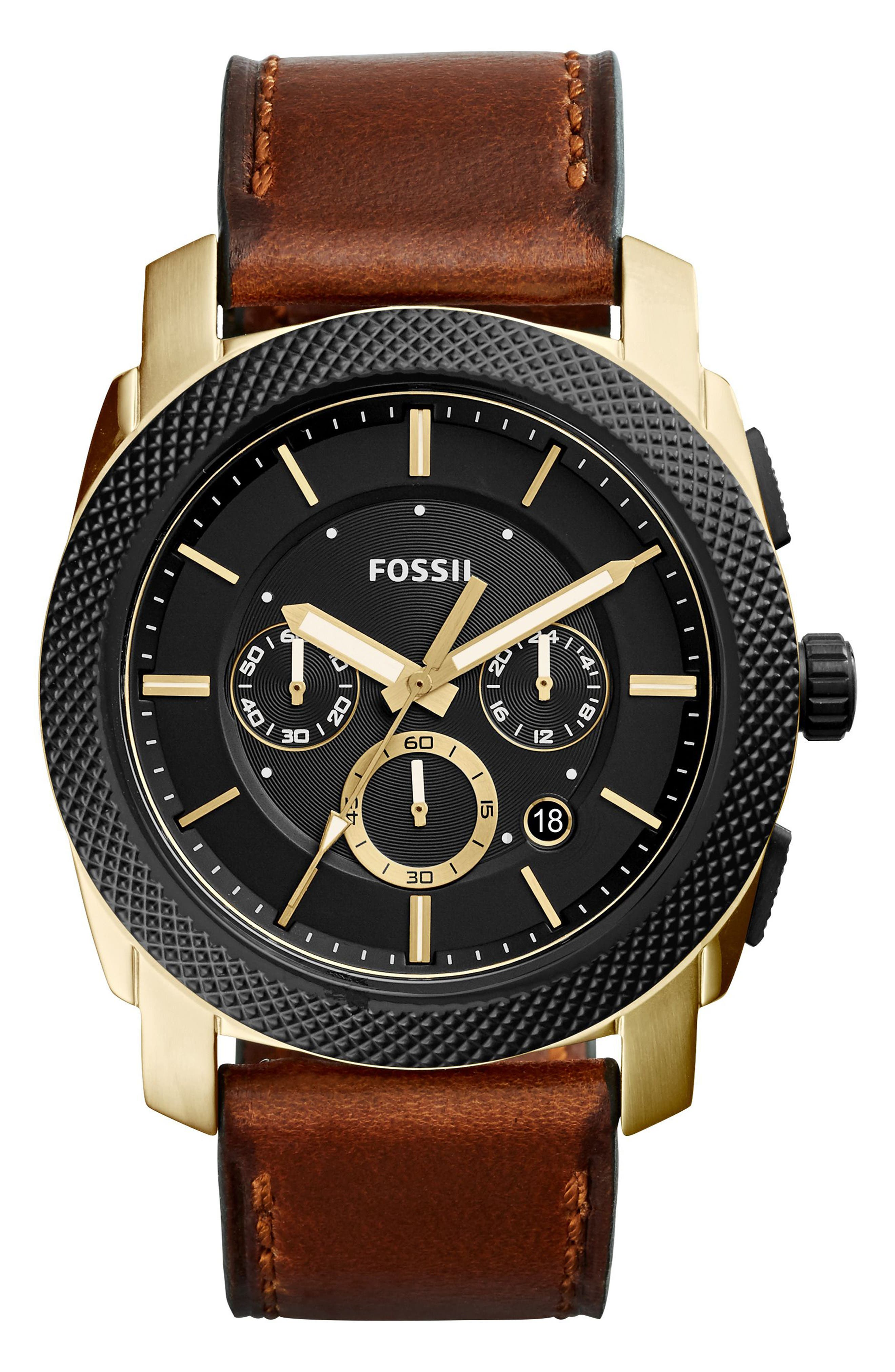 Machine Chronograph Leather Strap Watch, 45mm,                         Main,                         color, Brown/ Black/ Gold