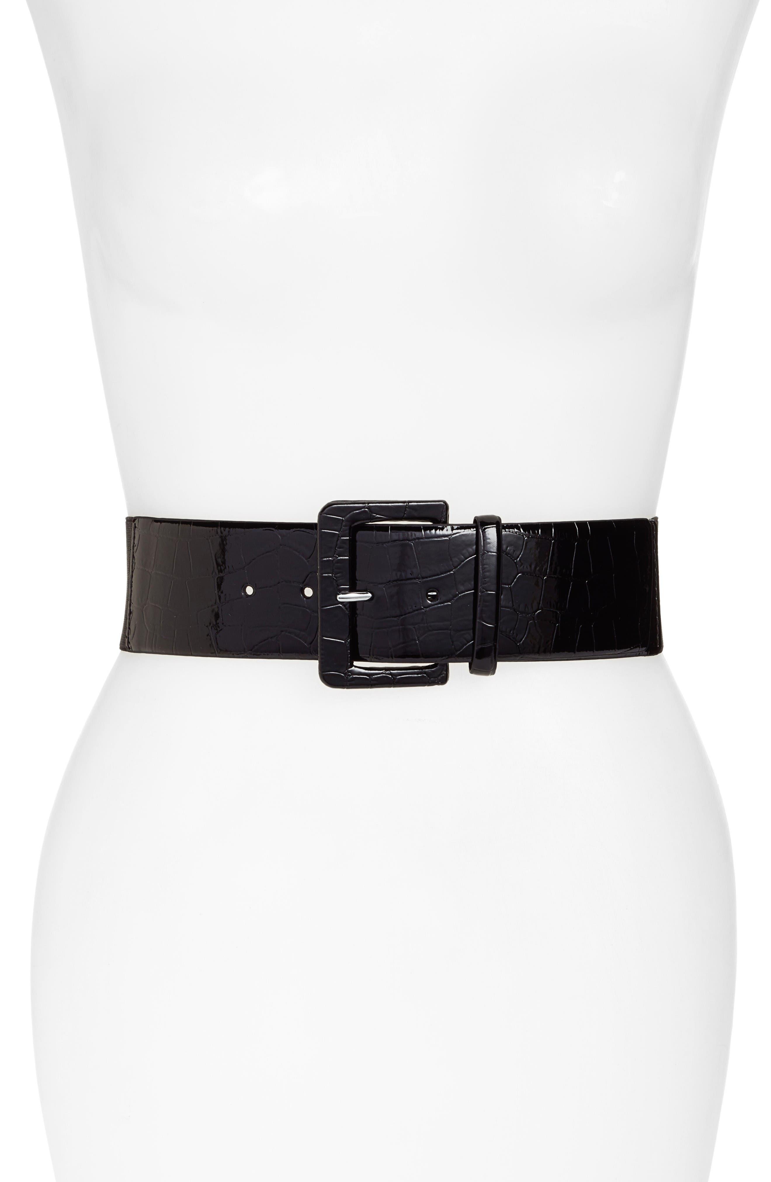 Croc Embossed Stretch Back Belt,                         Main,                         color, Black