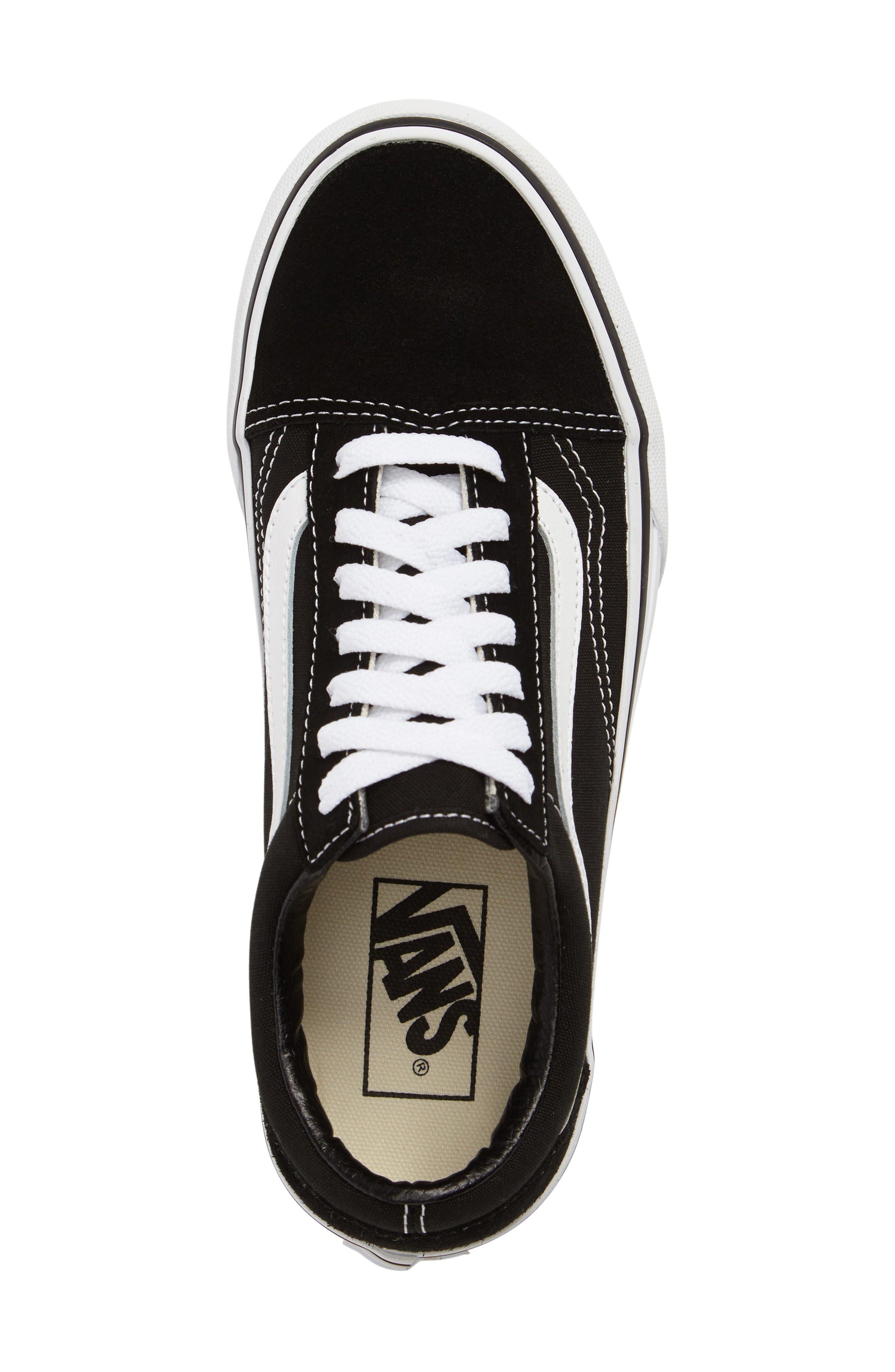 Old Skool Platform Sneaker,                             Alternate thumbnail 5, color,                             Black/ White