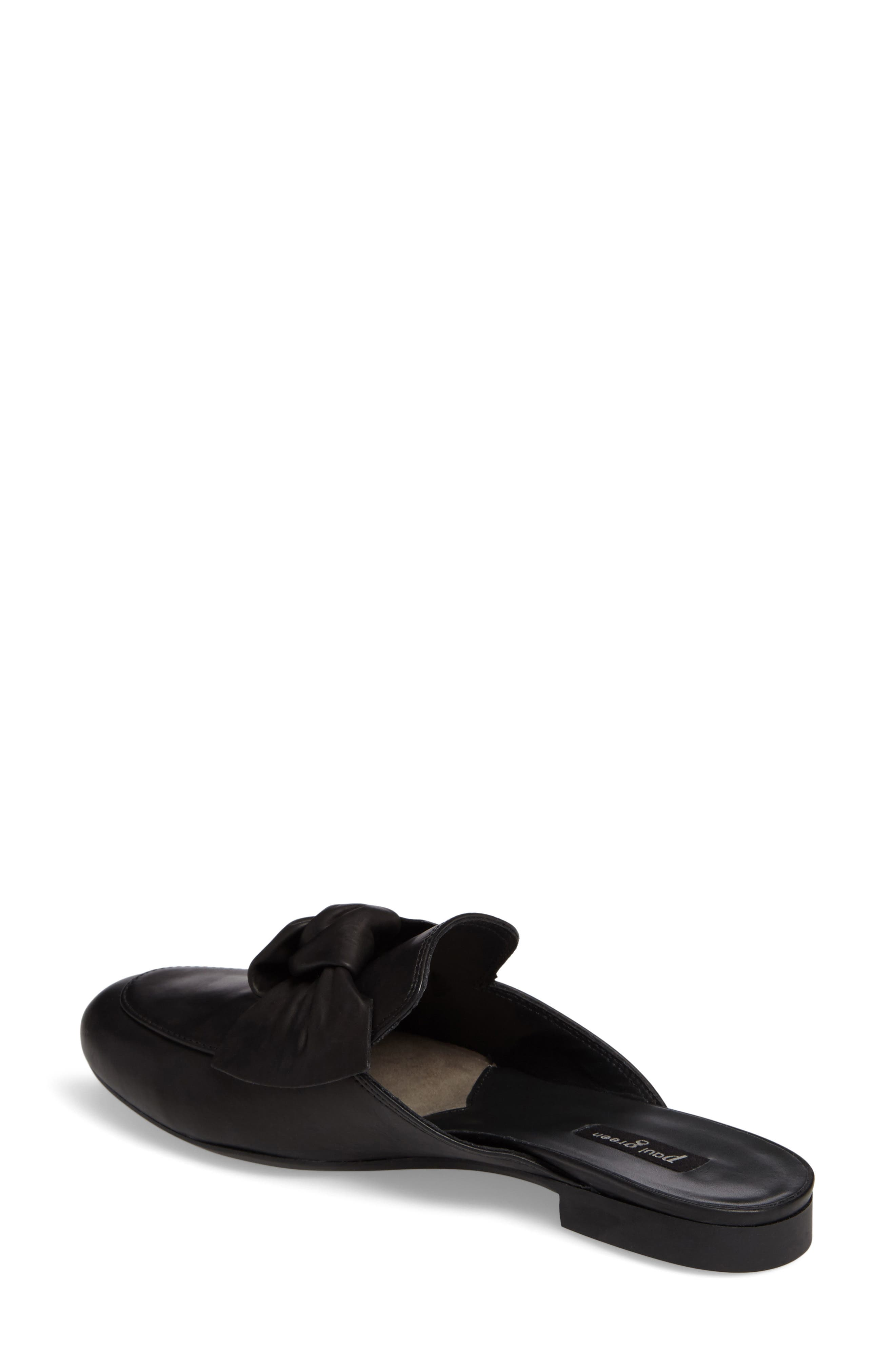 Mary Bow Mule Loafer,                             Alternate thumbnail 2, color,                             Black Leather
