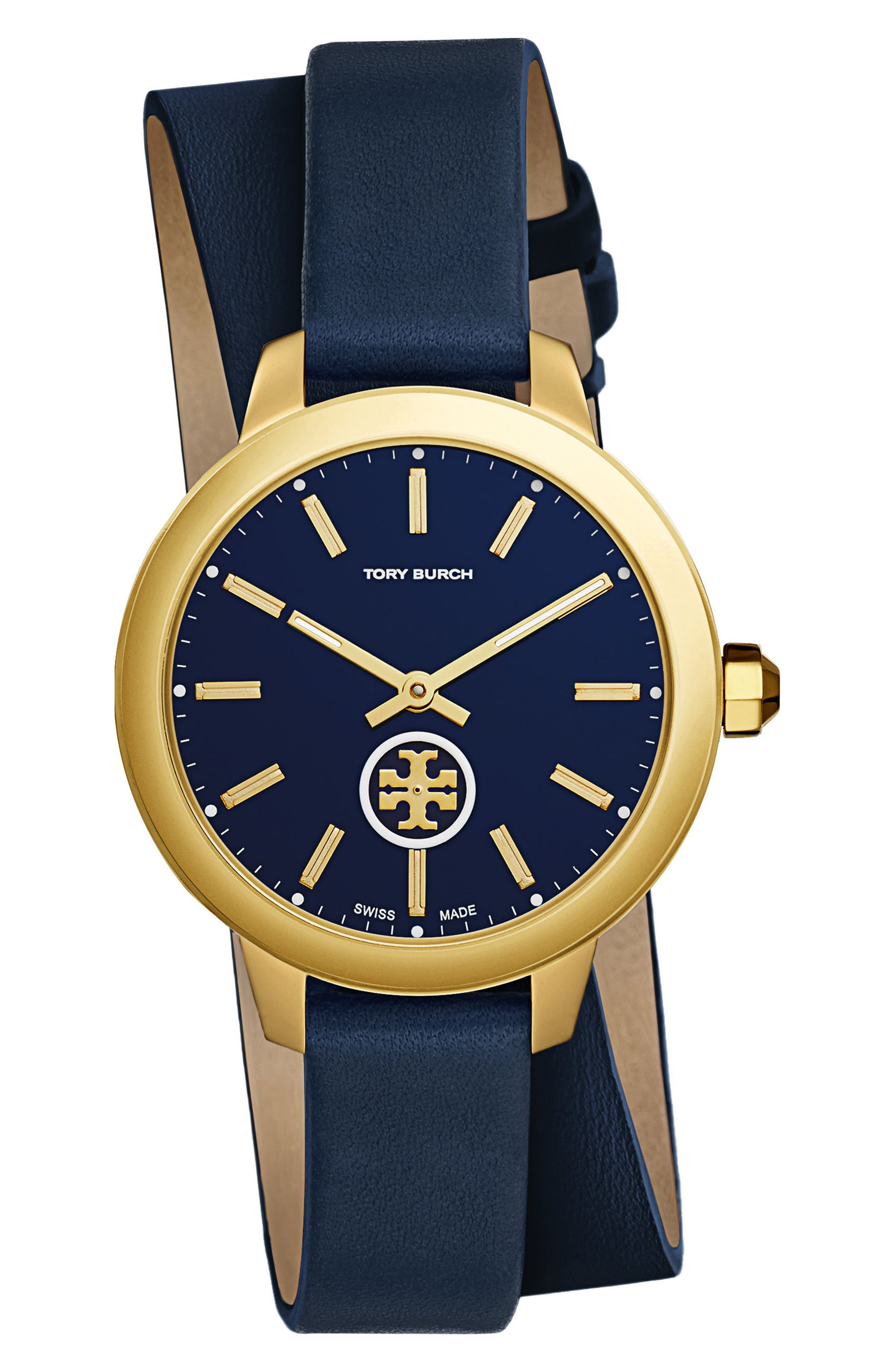 Collins Double Wrap Leather Strap Watch, 38mm,                         Main,                         color, Navy/ Gold