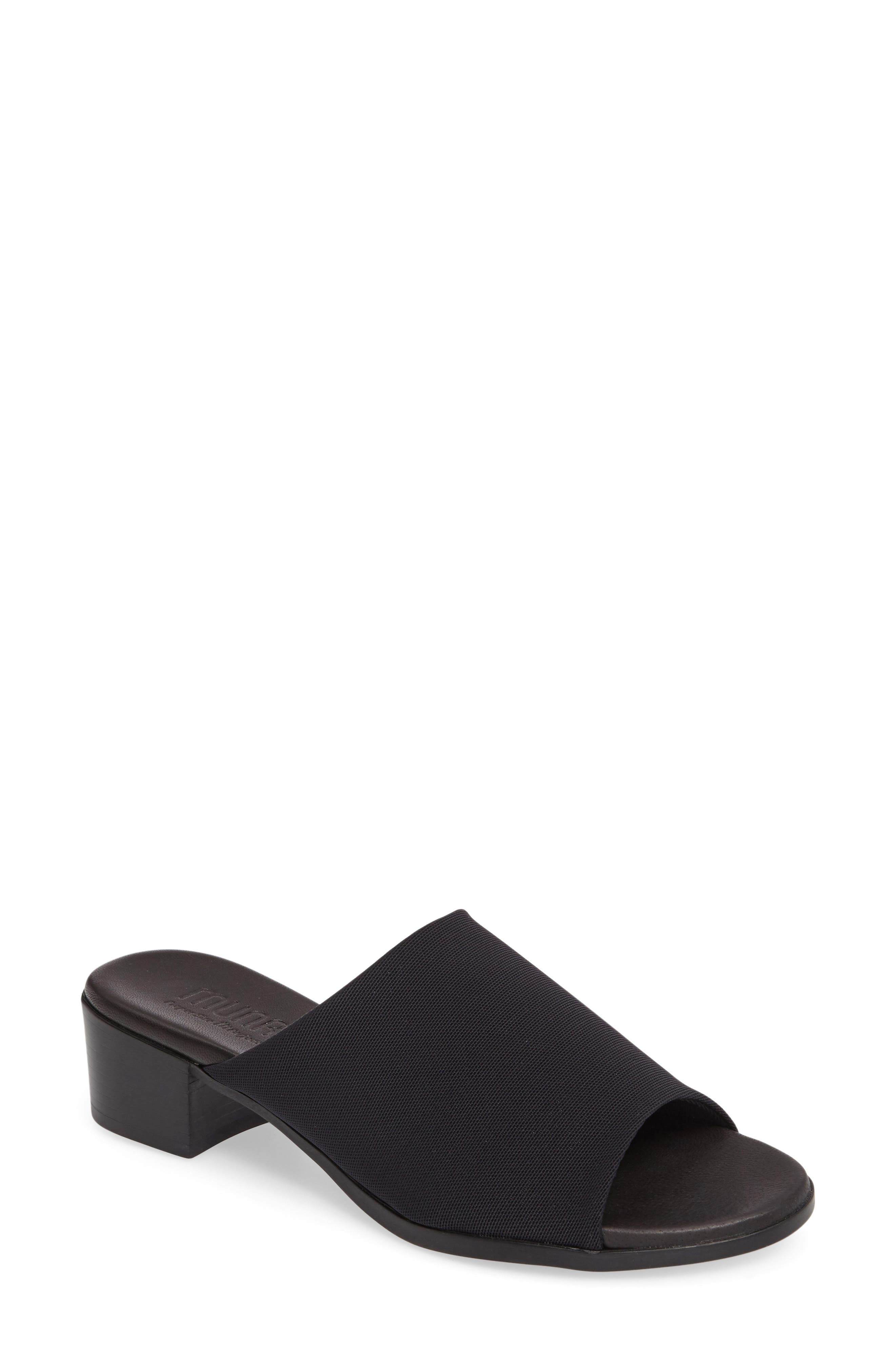 Beth Slide Sandal,                             Main thumbnail 1, color,                             Black Fabric