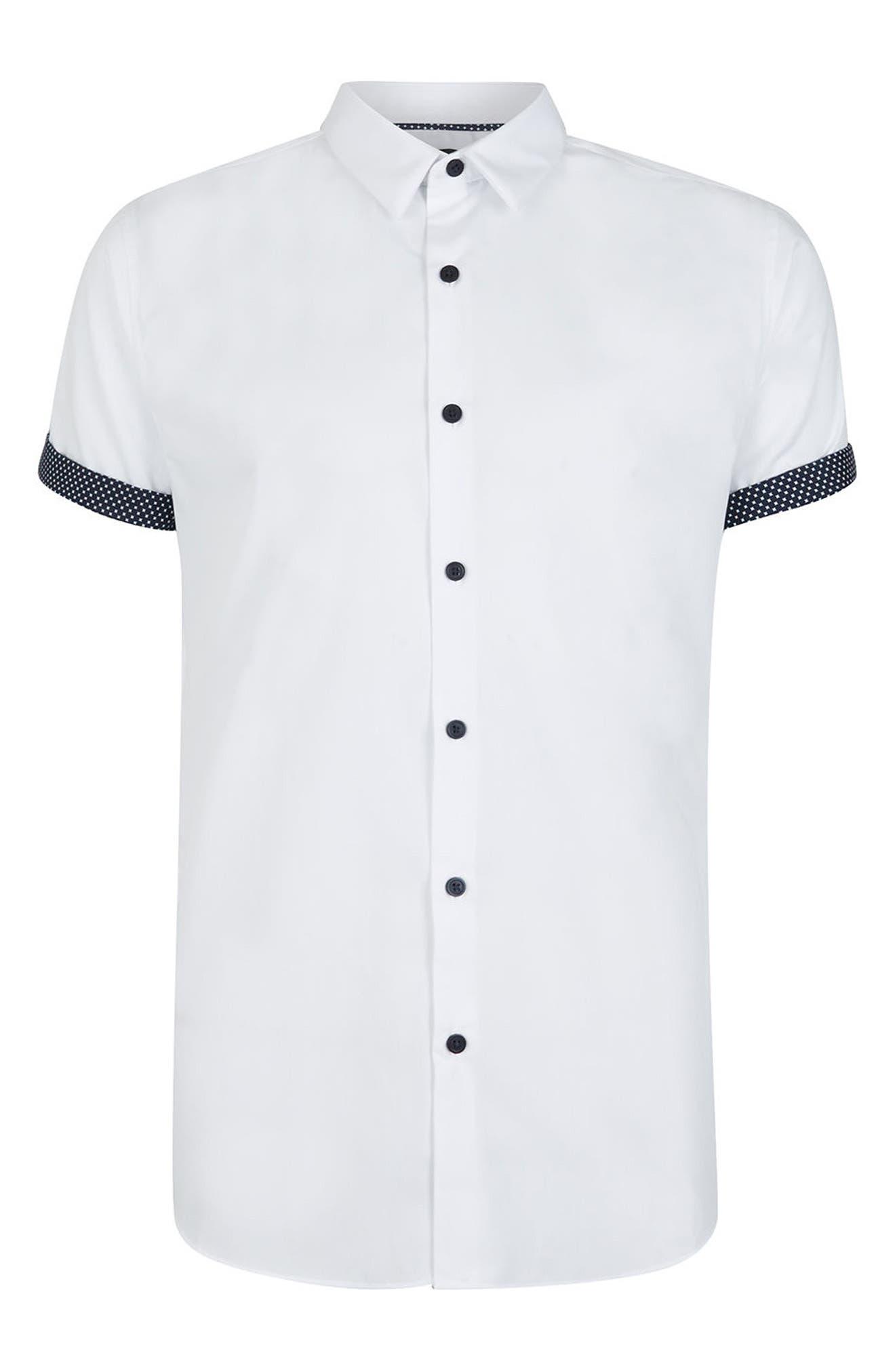 Dot Cuff Shirt,                             Alternate thumbnail 5, color,                             White Multi