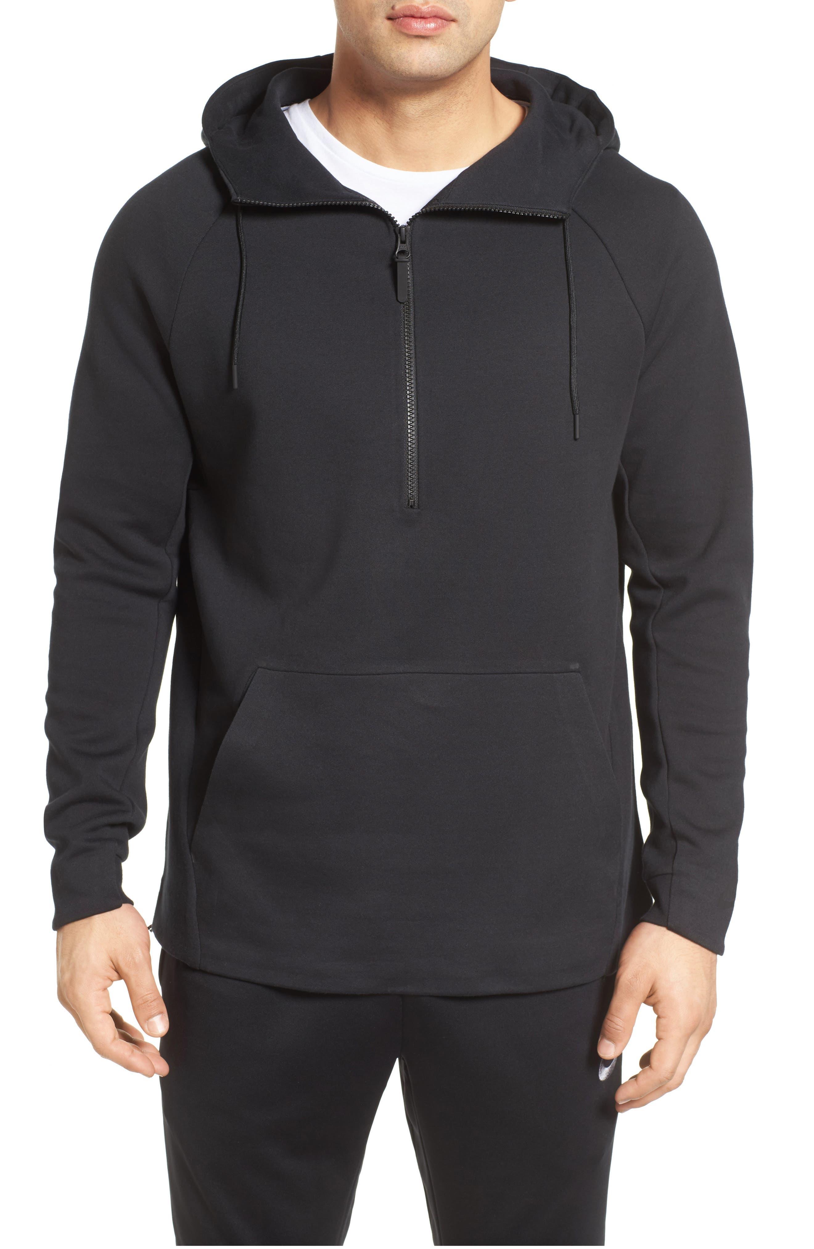 Half-Zip Pullover Hoodie,                         Main,                         color, Black/ Black/ Black