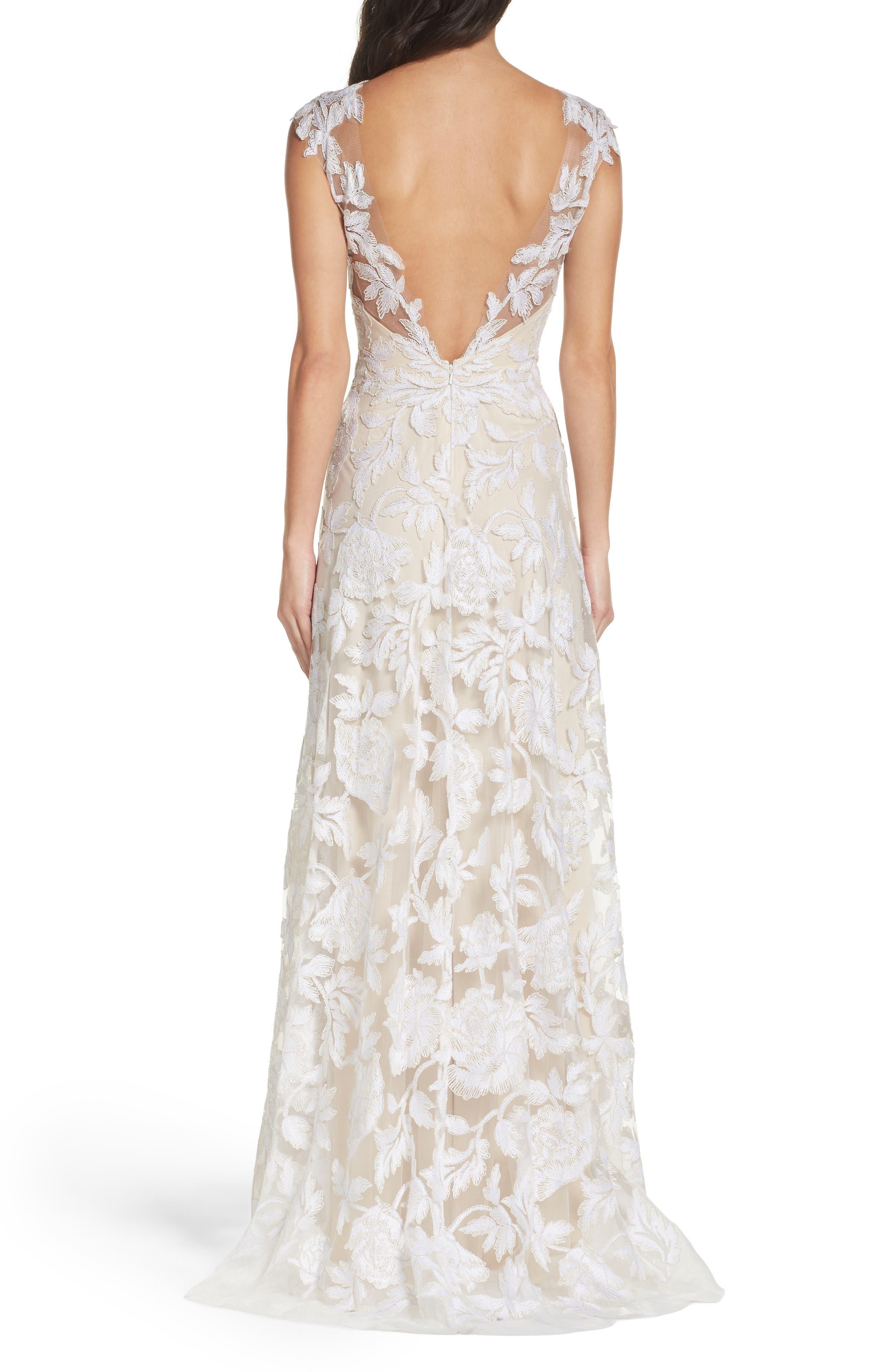 A-Line Lace Gown,                             Alternate thumbnail 2, color,                             Ivory/ Petal