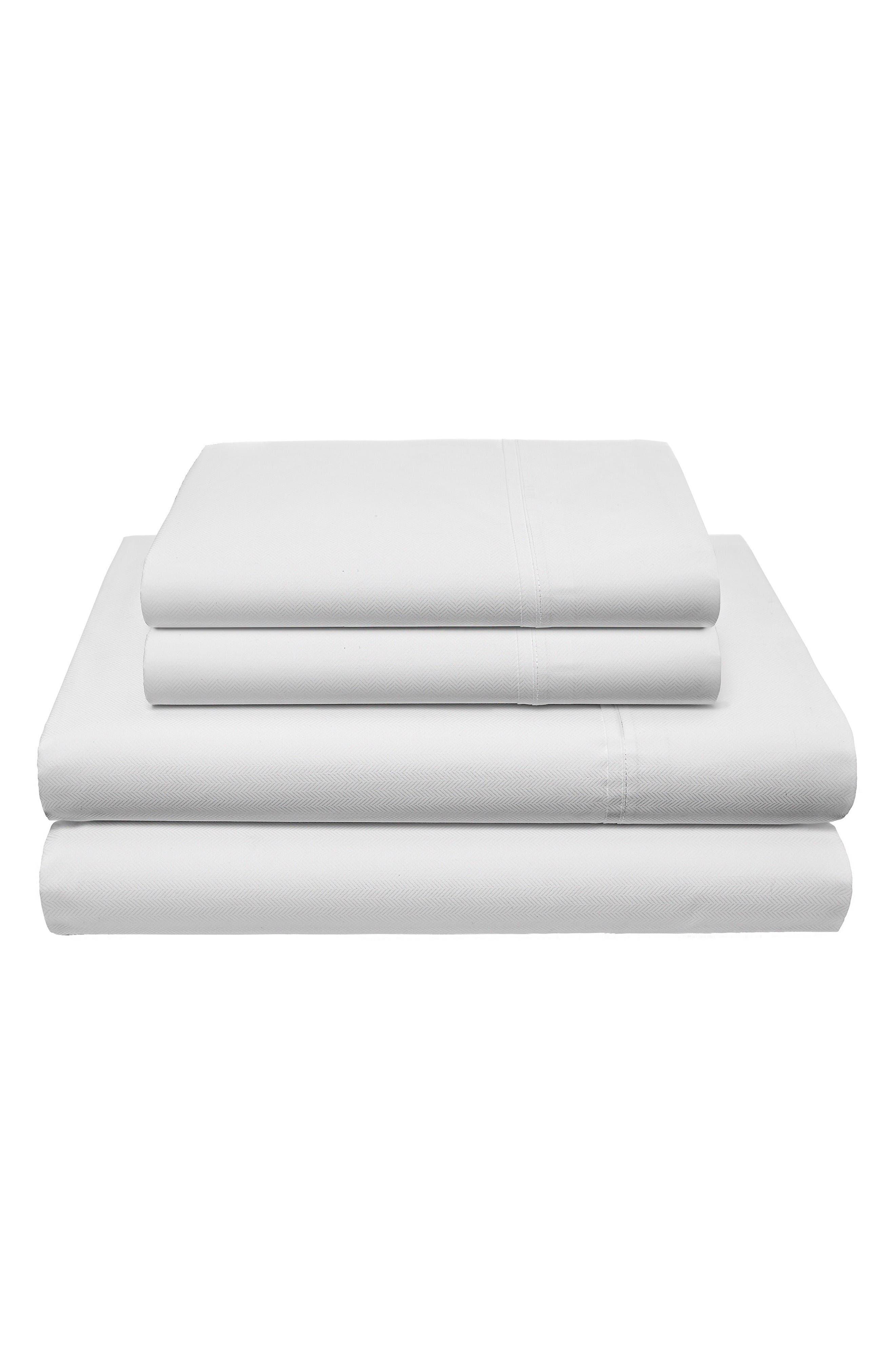 Robinson Herringbone 200 Thread Count Sheet Set,                         Main,                         color, White