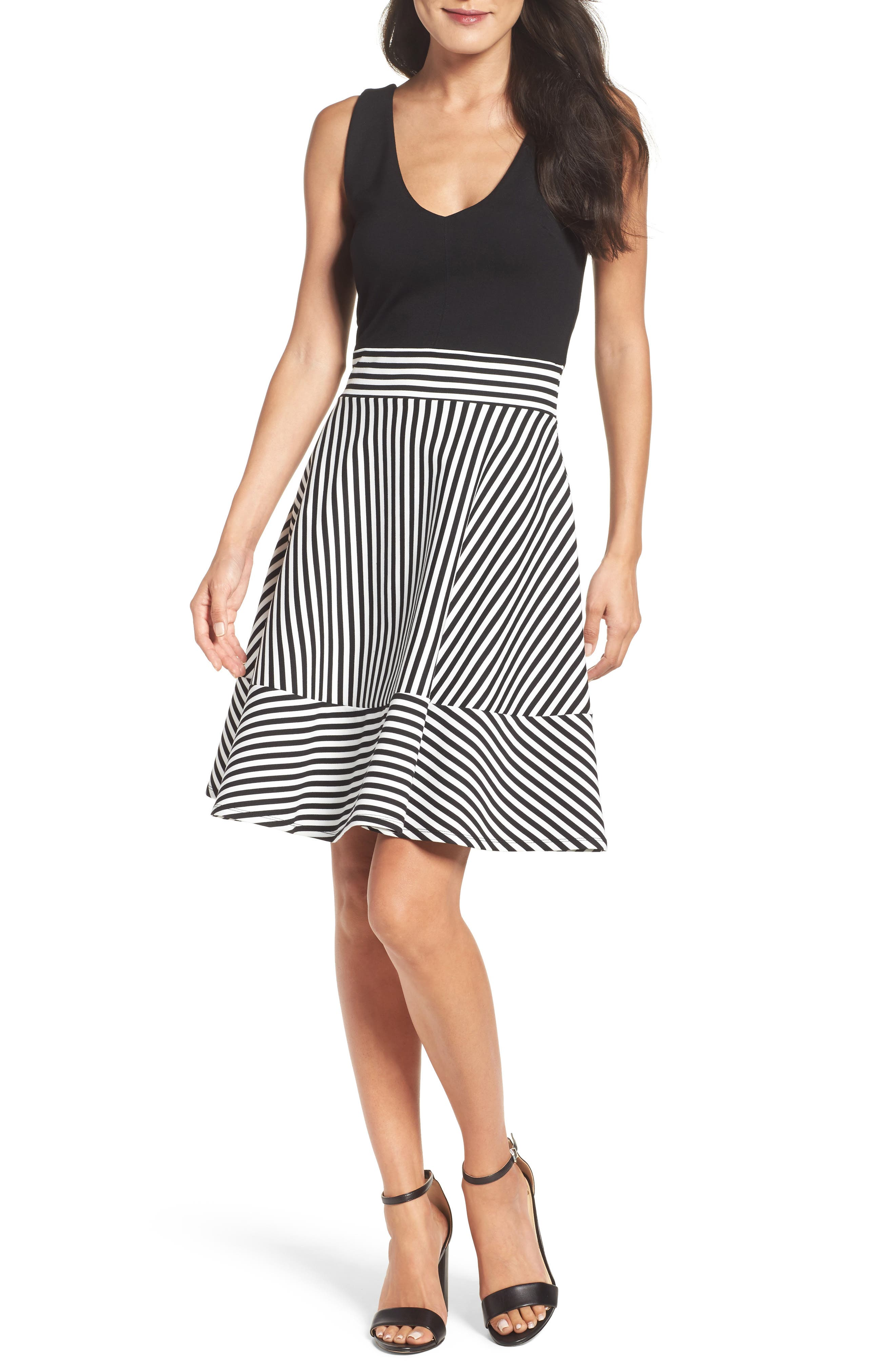Alternate Image 1 Selected - Felicity & Coco Lala Stripe Fit & Flare Dress (Nordstrom Exclusive)