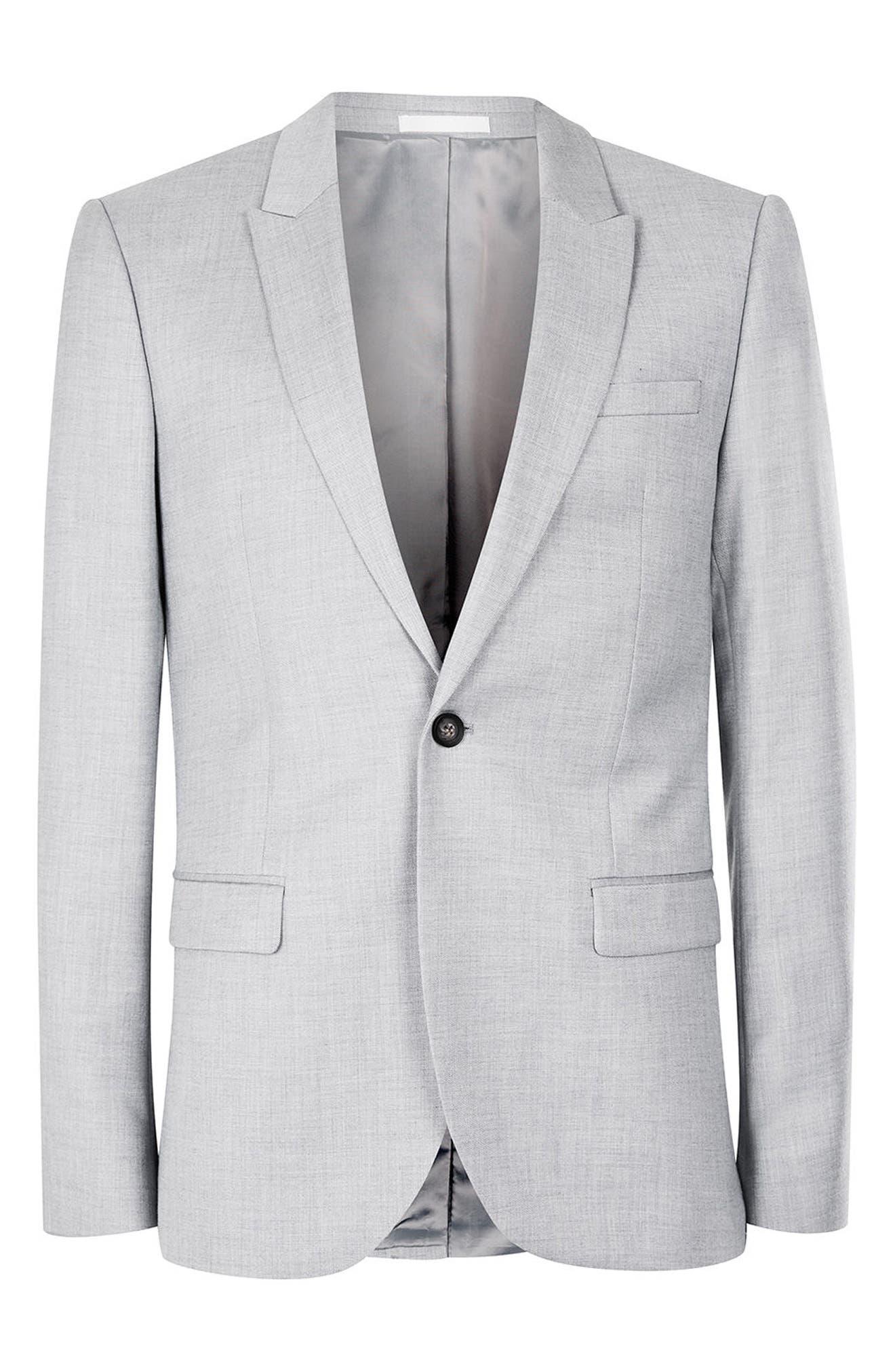 Skinny Fit Crosshatch Suit Jacket,                             Alternate thumbnail 6, color,                             Grey