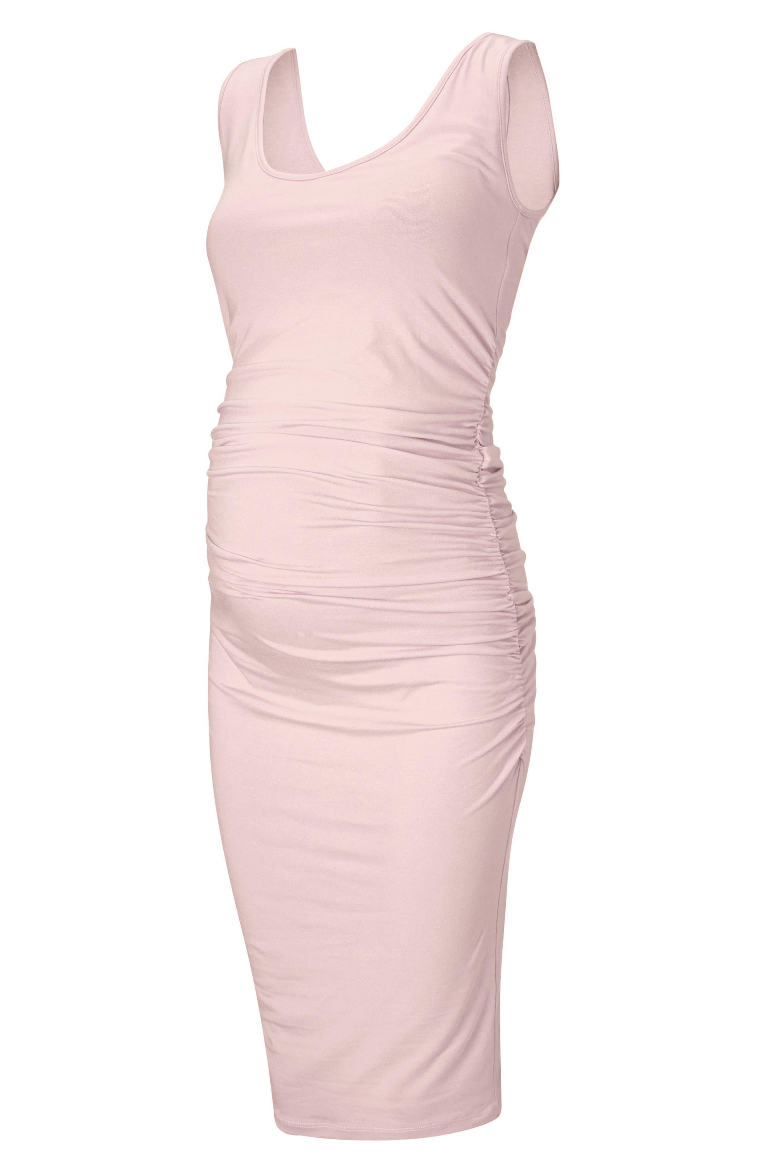 'Ellis' Side Ruched Maternity Tank Dress,                             Main thumbnail 1, color,                             Cloud Pink