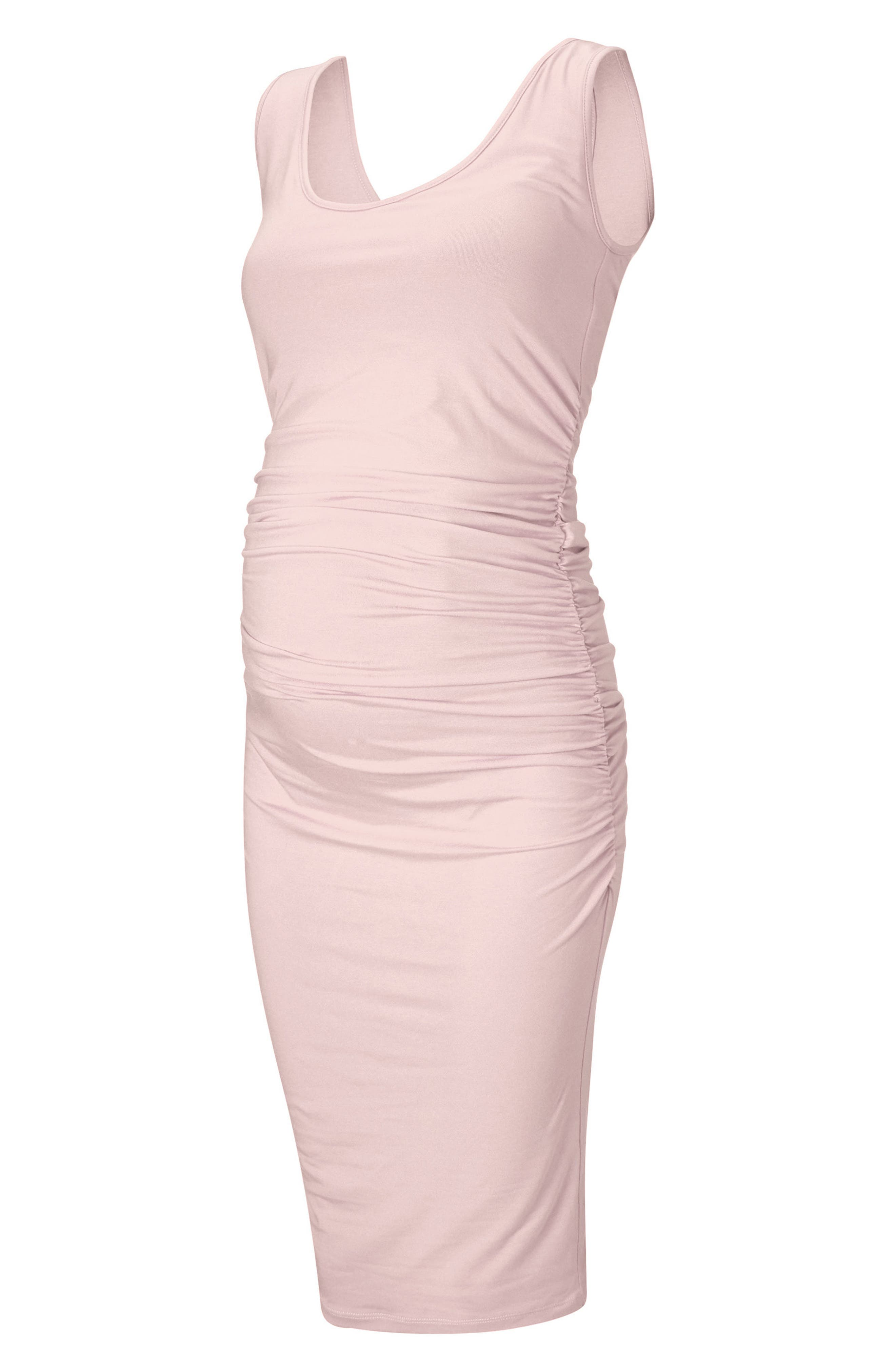 'Ellis' Side Ruched Maternity Tank Dress,                         Main,                         color, Cloud Pink