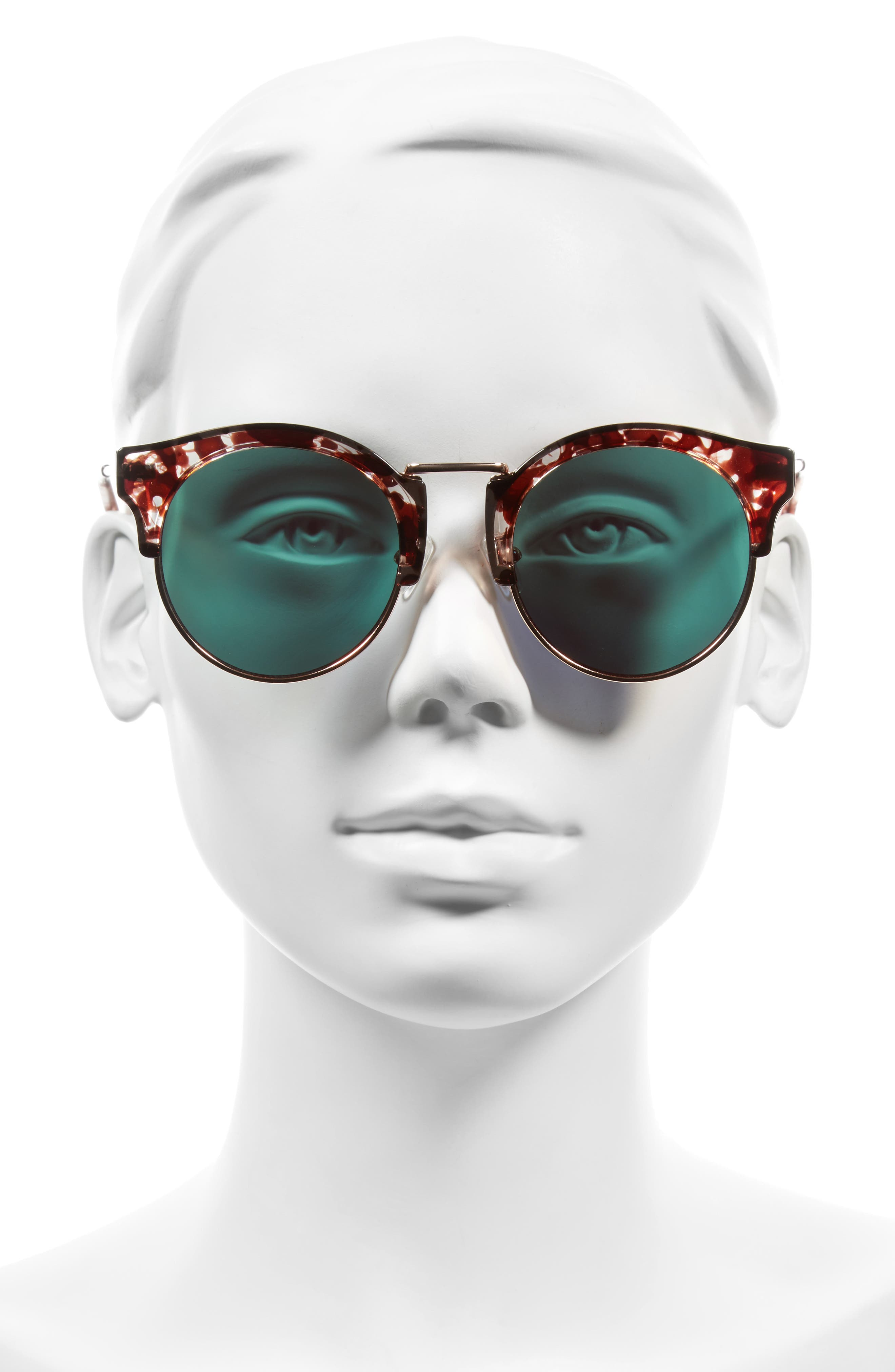 Broadway 51mm Retro Sunglasses,                             Alternate thumbnail 4, color,                             Lovesick Red