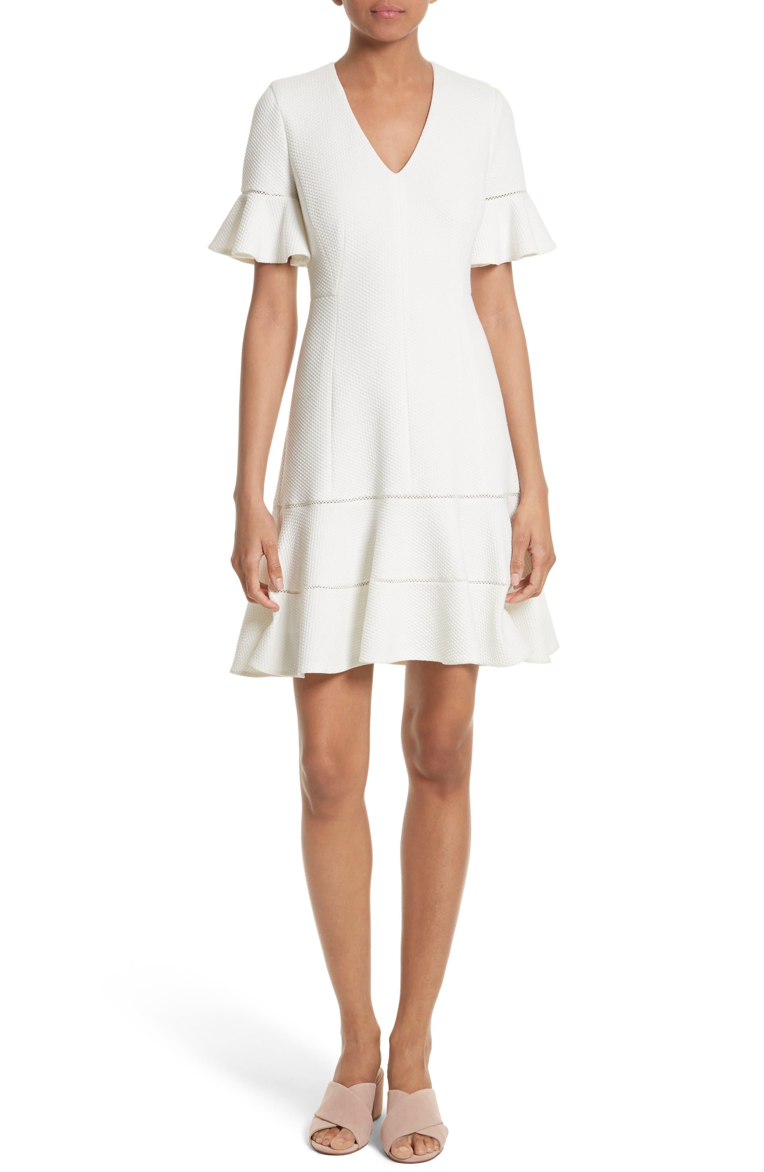 Rebecca Taylor Frill Sleeve Texture Knit Dress