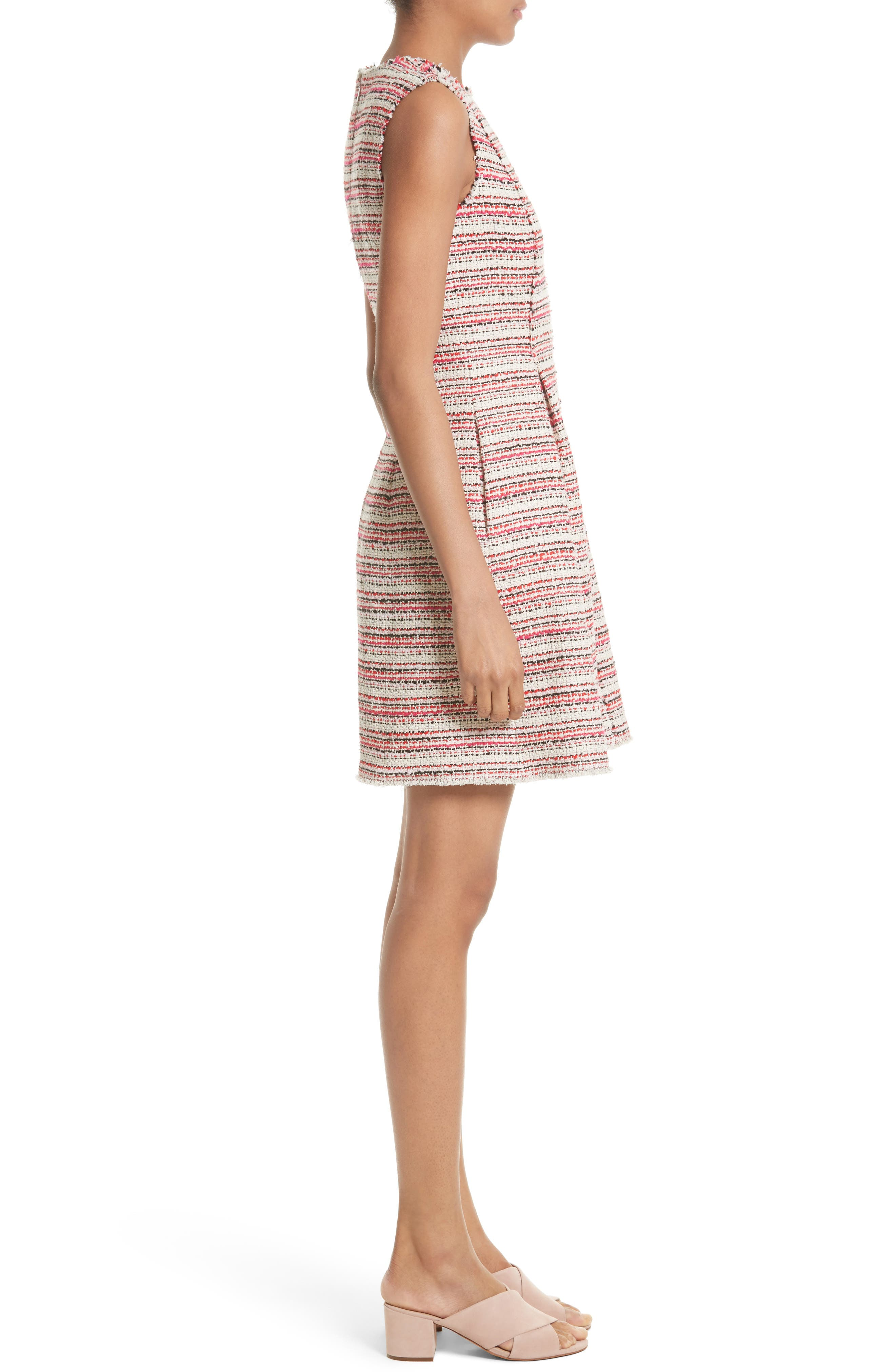 Optic Tweed Fit & Flare Dress,                             Alternate thumbnail 3, color,                             Candy Apple Combo