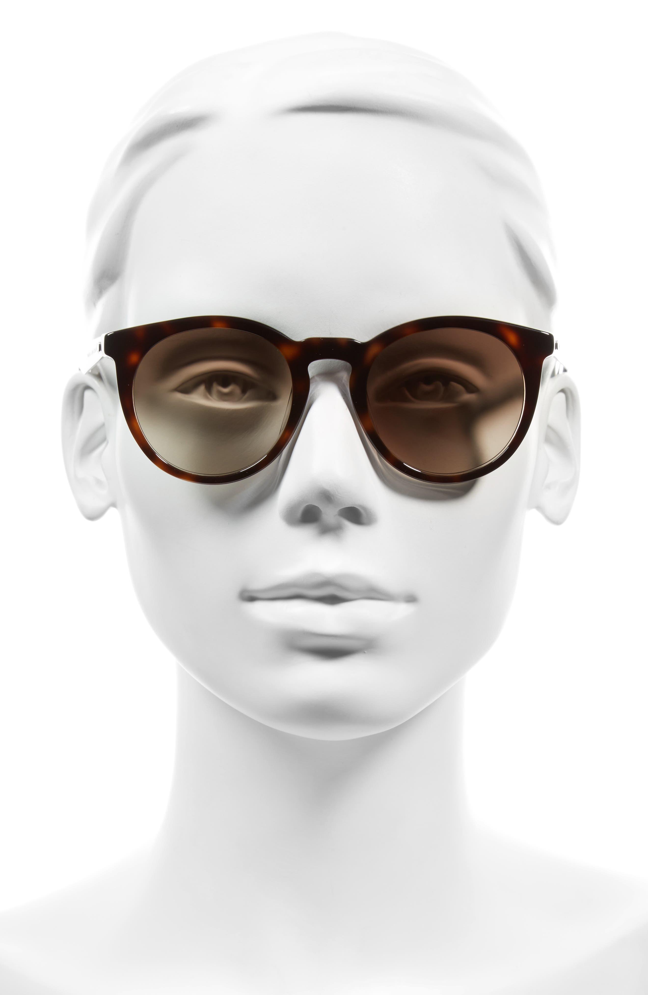 47mm Keyhole Sunglasses,                             Alternate thumbnail 2, color,                             Havana Crystal