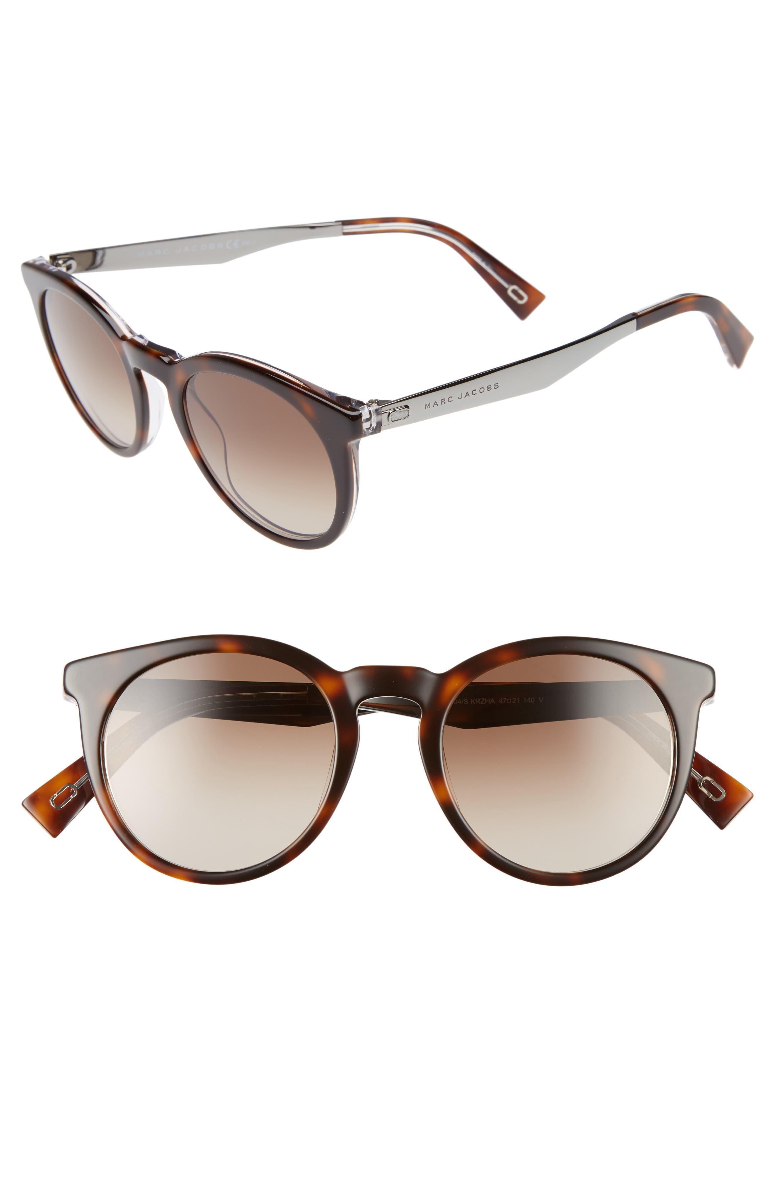 47mm Keyhole Sunglasses,                             Main thumbnail 1, color,                             Havana Crystal