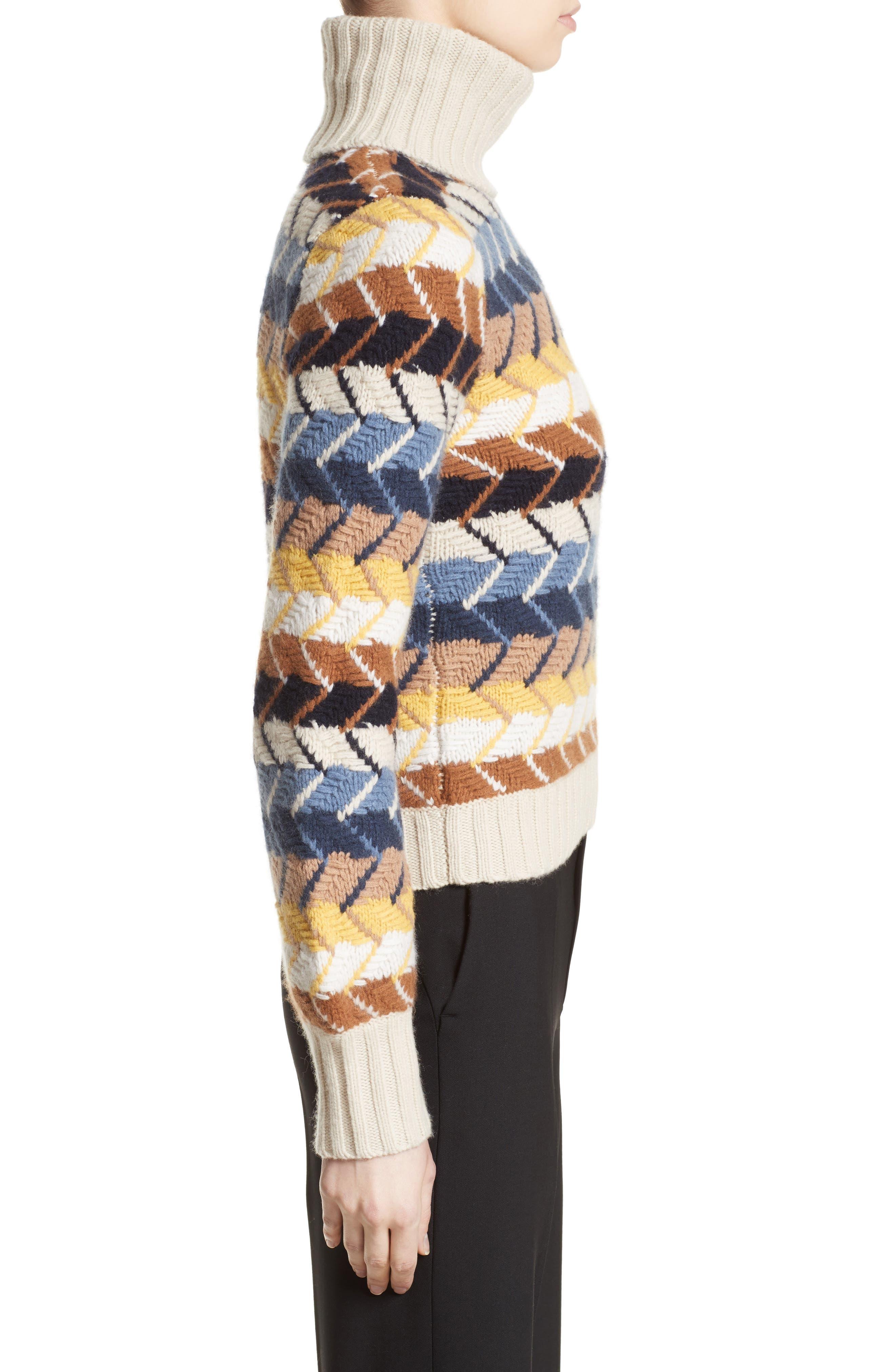 Herringbone Wool & Cashmere Turtleneck Sweater,                             Alternate thumbnail 5, color,                             Multicolor Blue