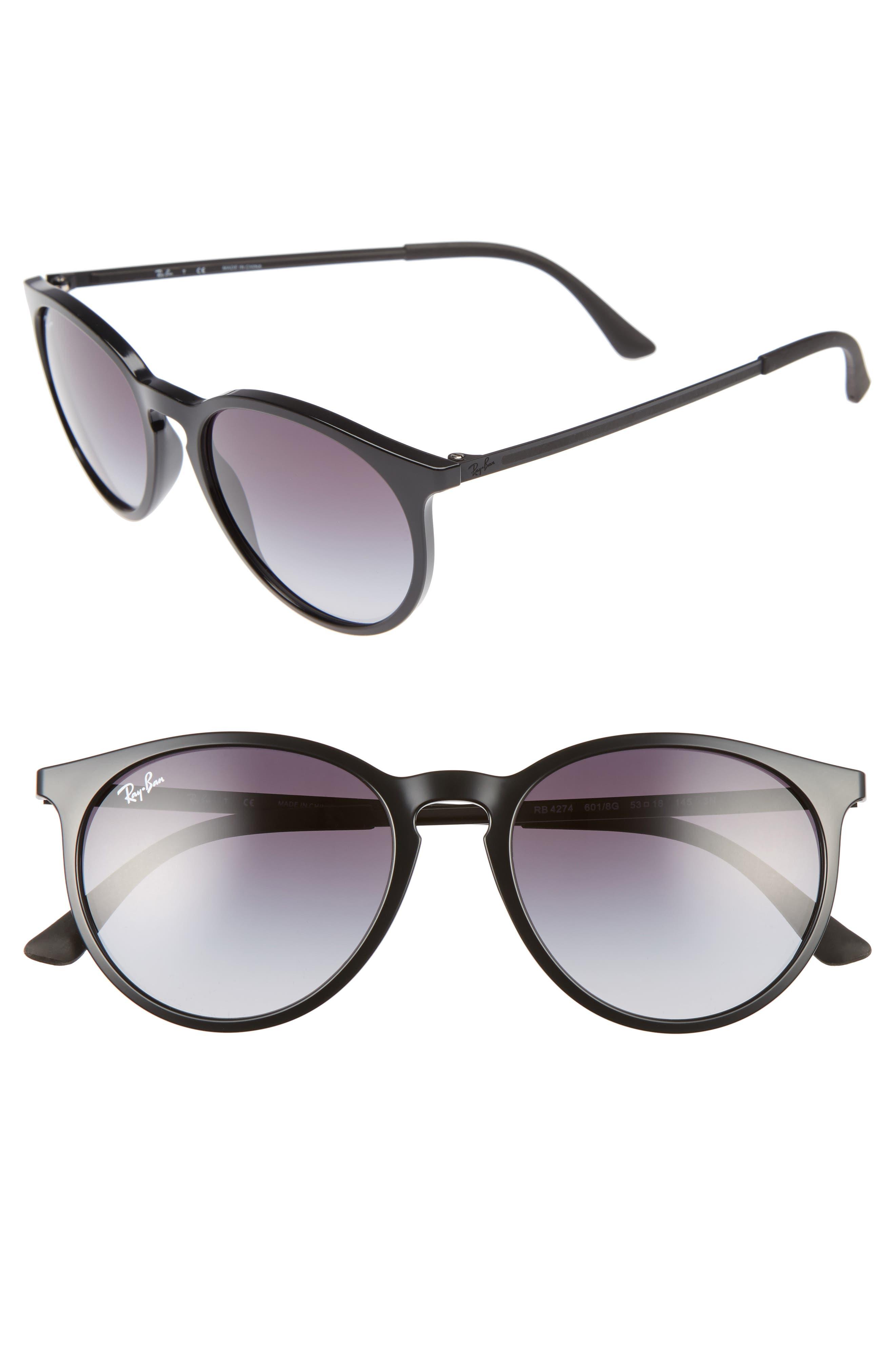 53mm Gradient Lens Retro Sunglasses,                         Main,                         color, Black