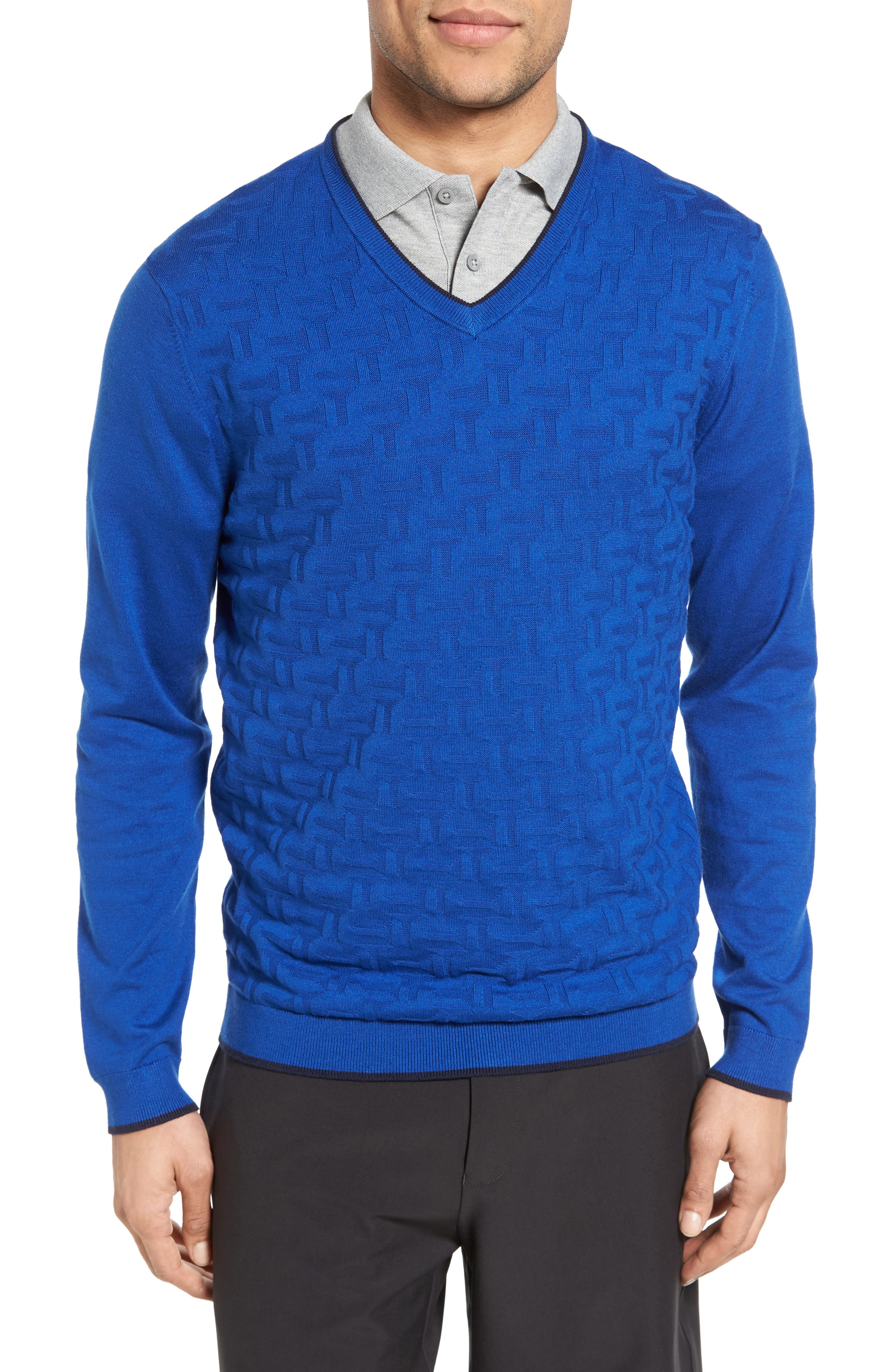 Main Image - Ted Baker London Armstro Tipped Golf Tee Sweater