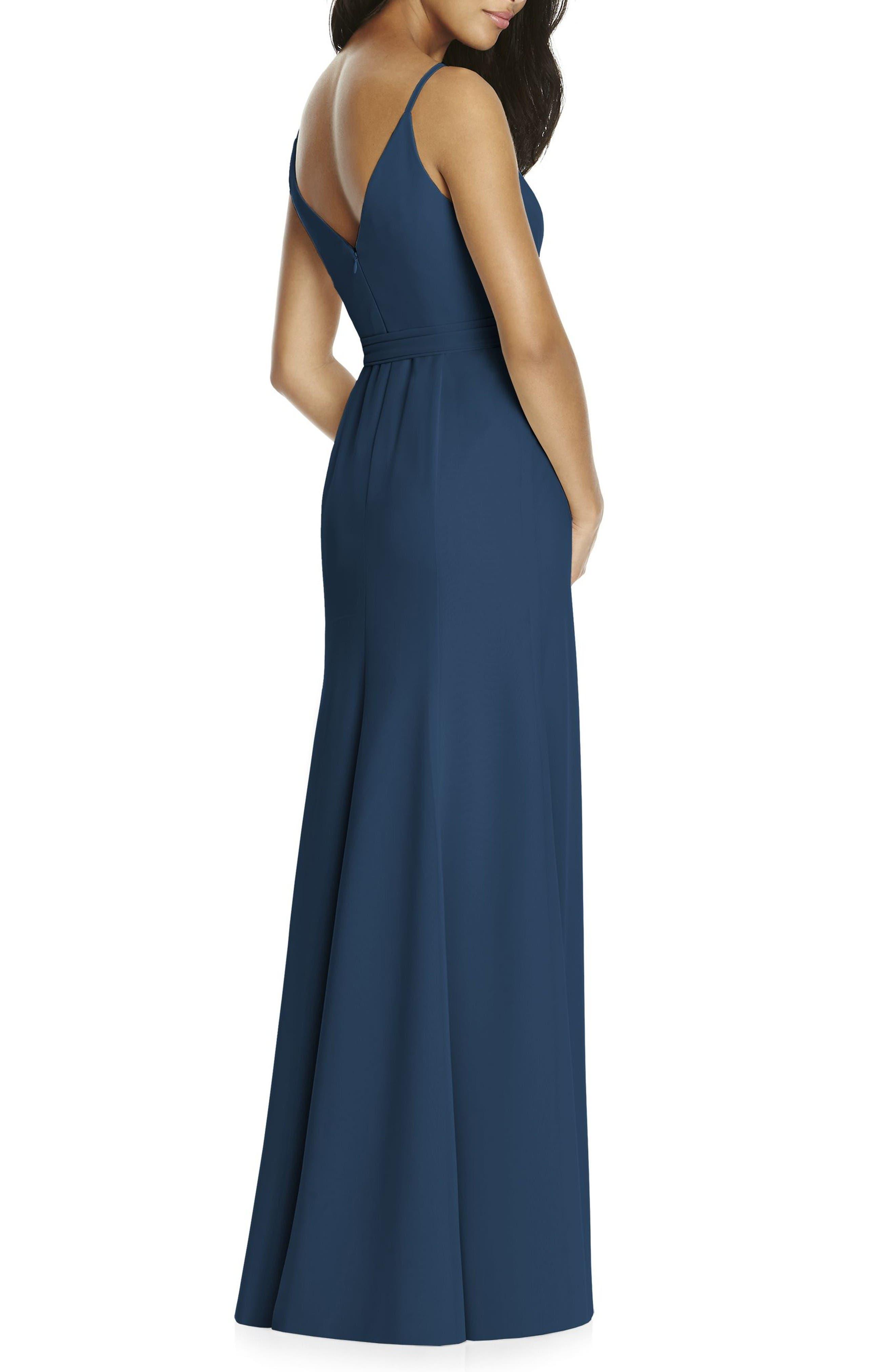 Faux Wrap Gown,                             Alternate thumbnail 2, color,                             Sofia Blue