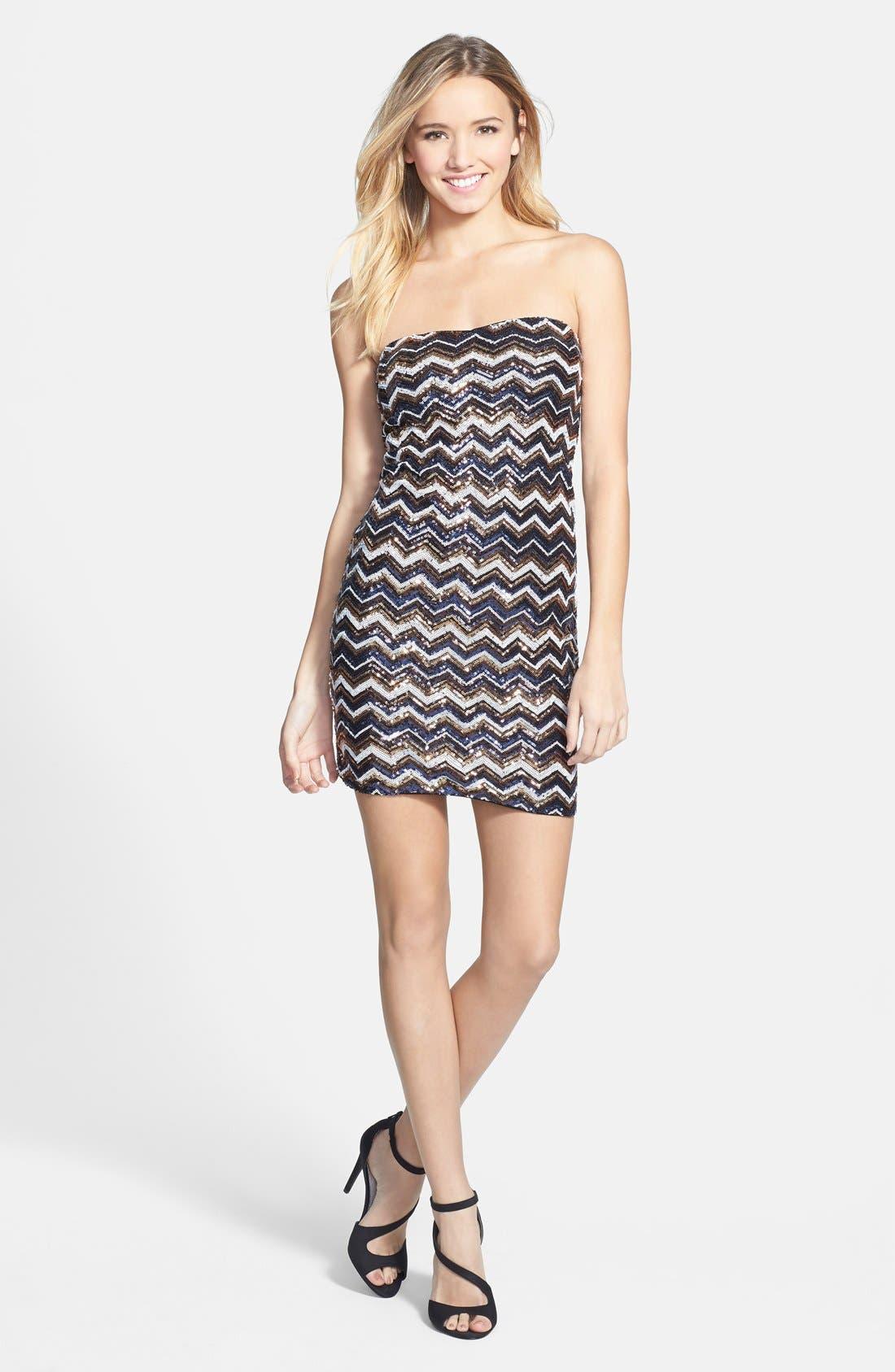 Alternate Image 1 Selected - As U Wish Sequin Chevron Strapless Body-Con Dress