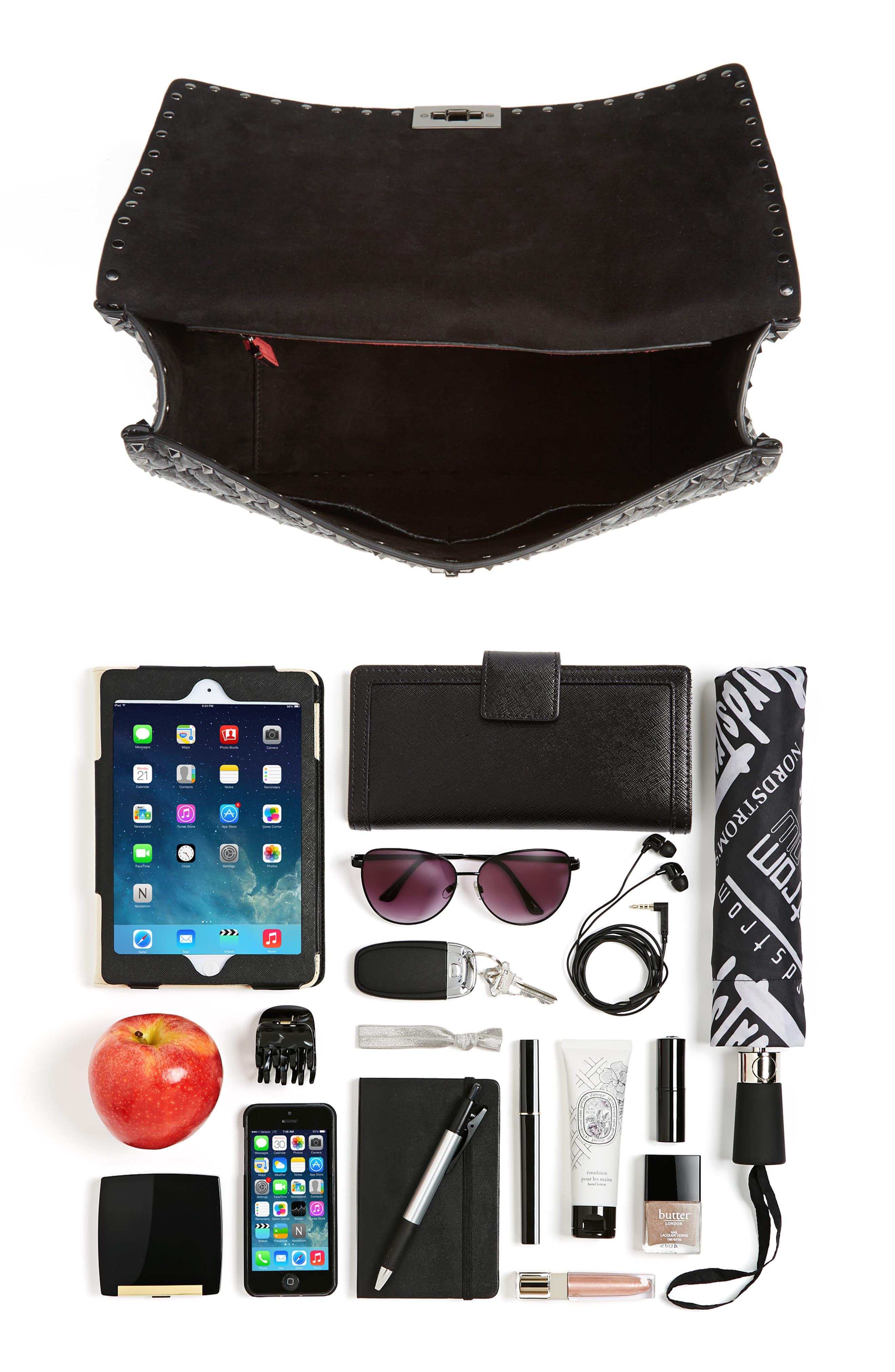 Rockstud Spike Large Shoulder Bag,                             Alternate thumbnail 7, color,                             Black