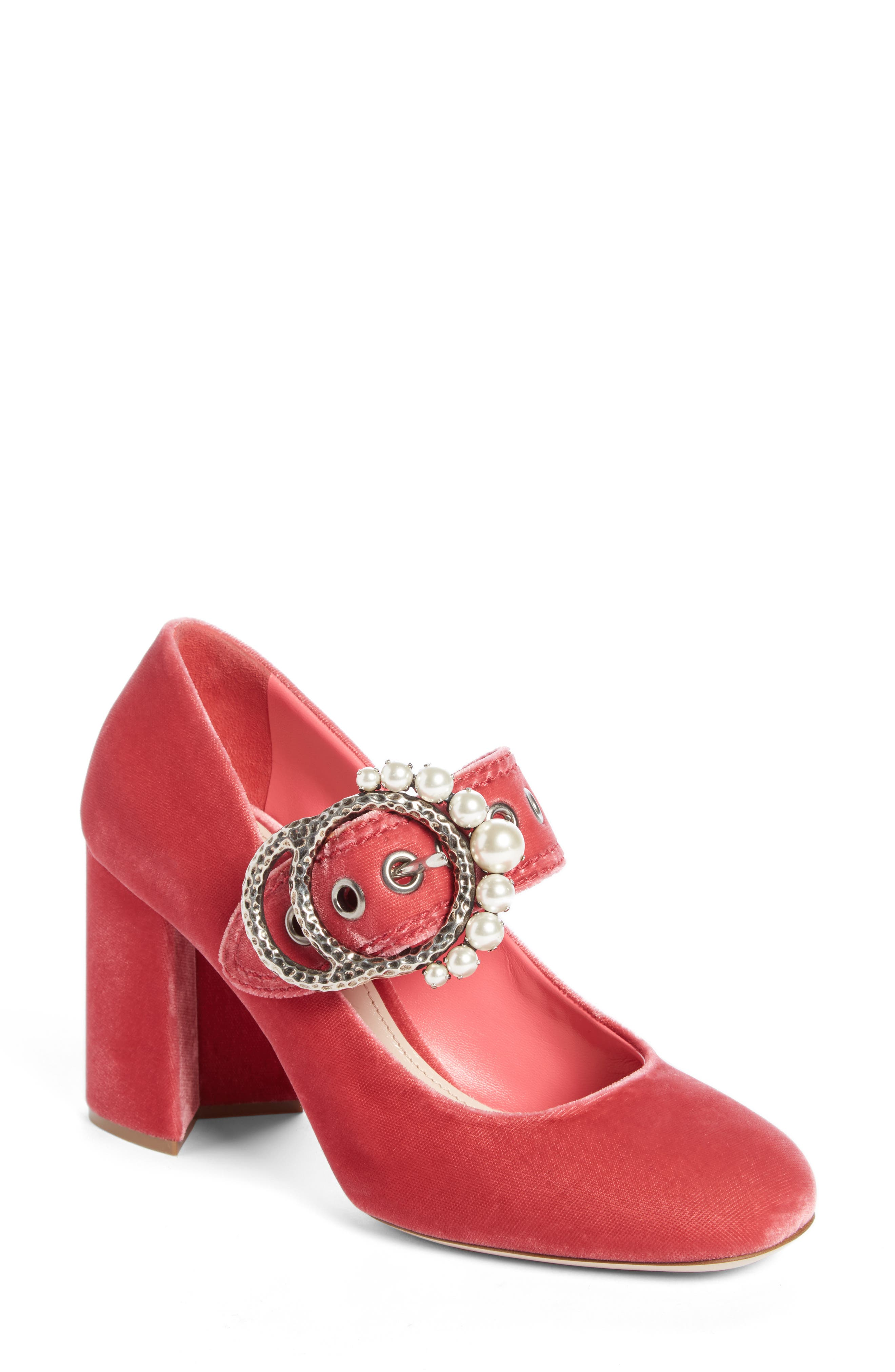 Alternate Image 1 Selected - Miu Miu Imitation Pearl Buckle Pump (Women)
