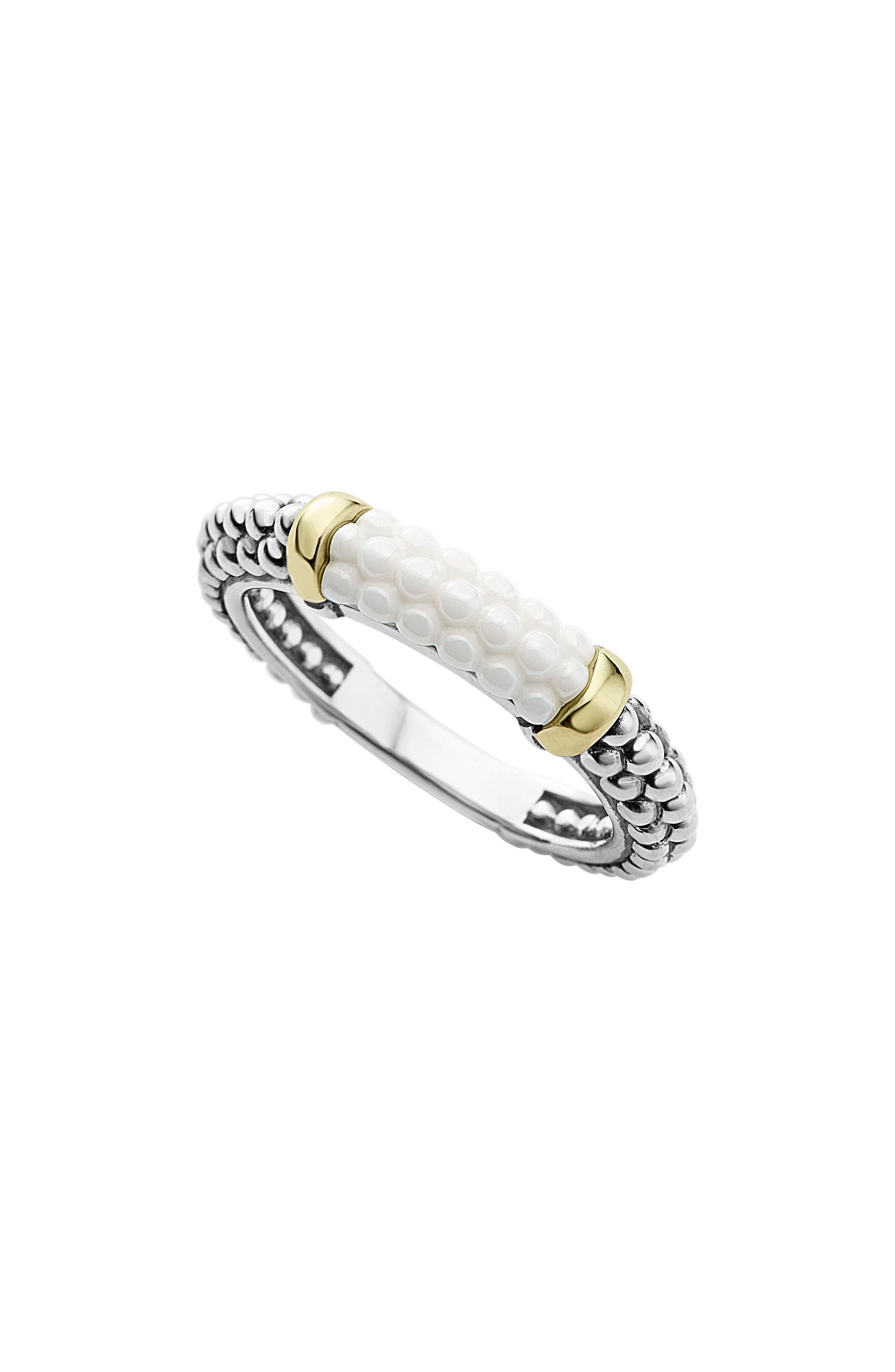 'Caviar' Stacking Ring,                         Main,                         color, White/ Gold