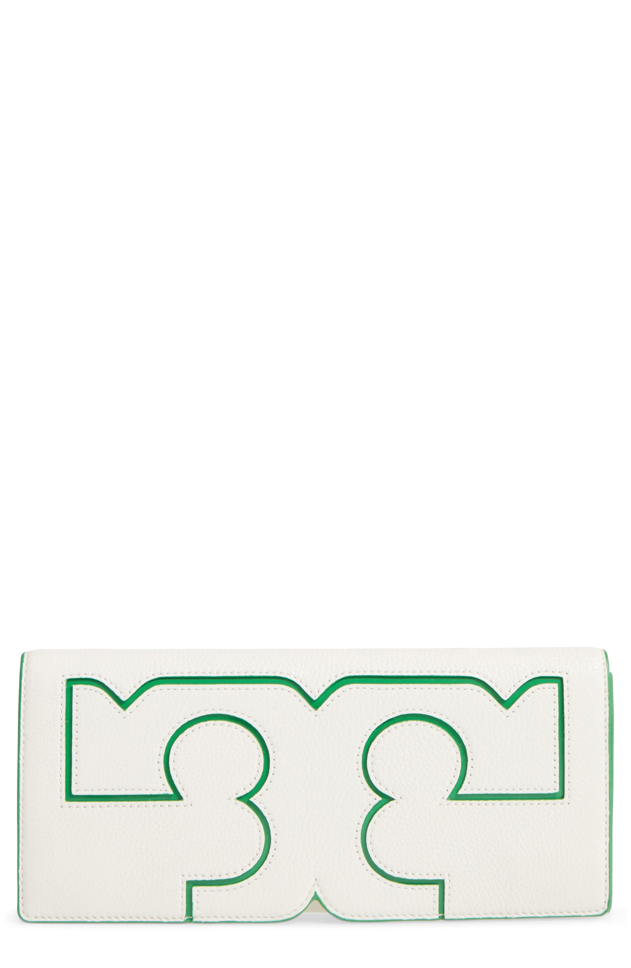 Alternate Image 1 Selected - Tory Burch Serif Leather Clutch