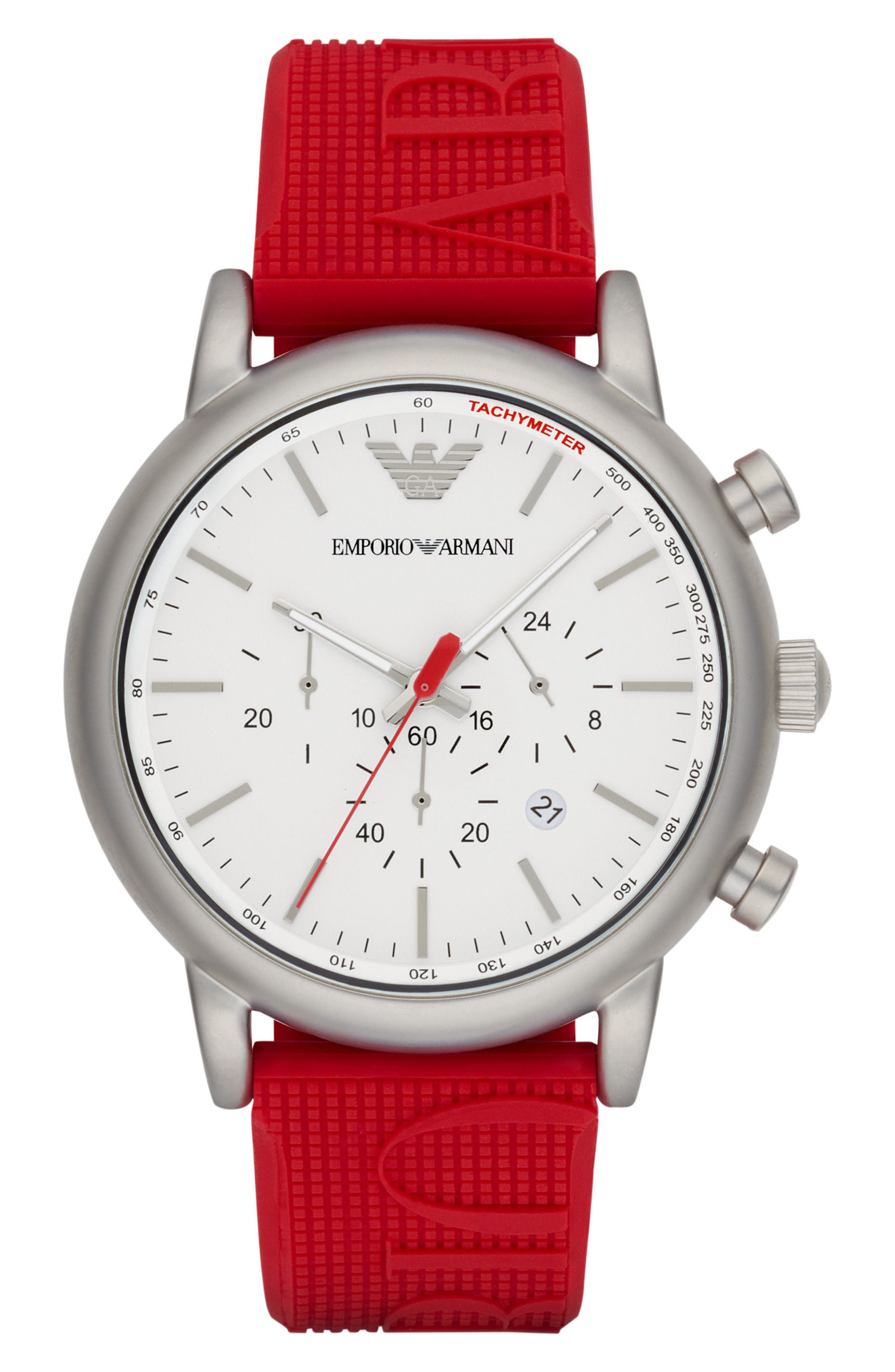 Chronograph Silicone Strap Watch, 32mm,                             Main thumbnail 1, color,                             White/ Red